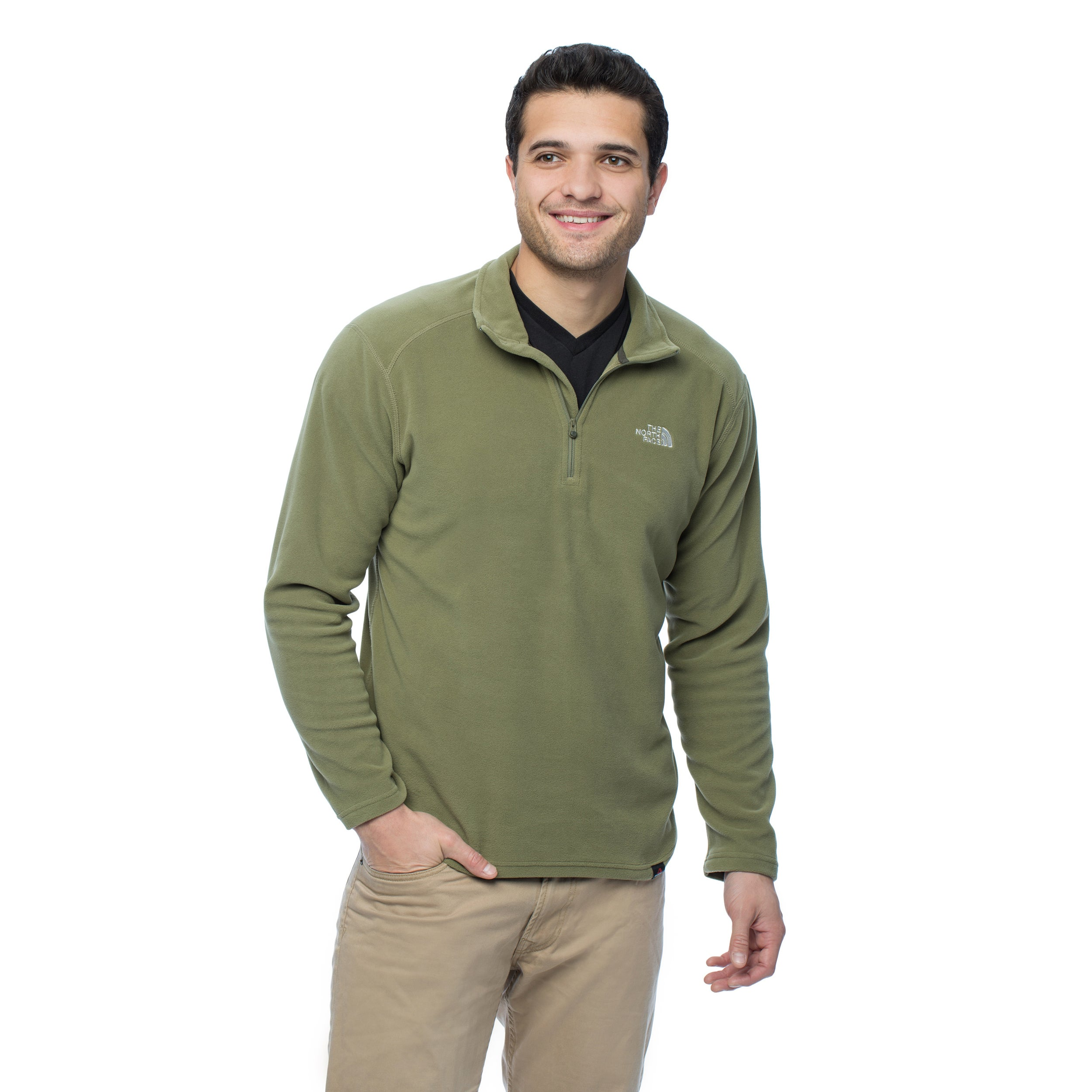d007f7aeb377 Shop The North Face Men s Burnt Olive Green 100 Glacier 1 4 Zip - Free  Shipping On Orders Over  45 - Overstock - 10787077