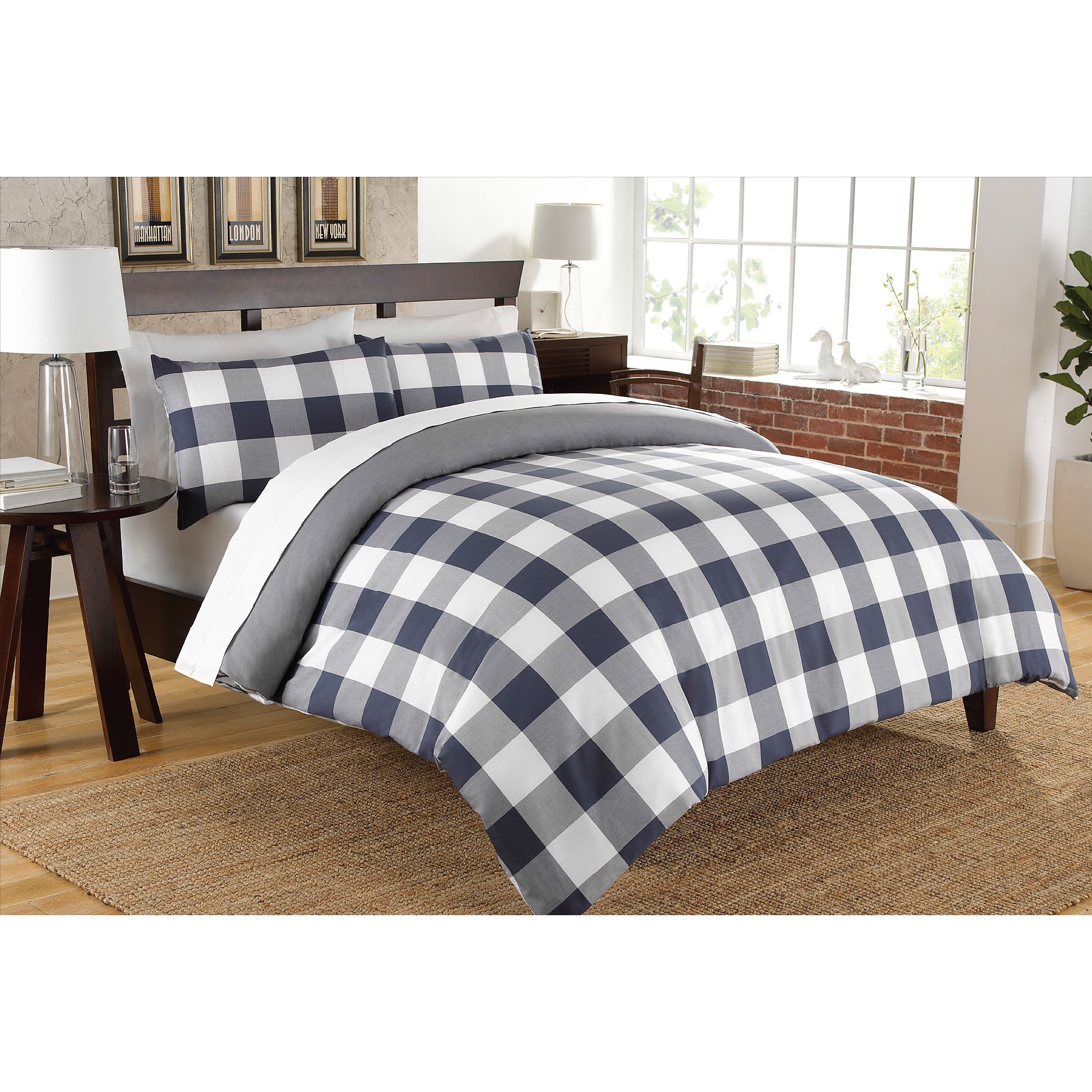check cotton bedding double cover anthracite gingham pillowcases duvet dyed set of p picture yarn reversible