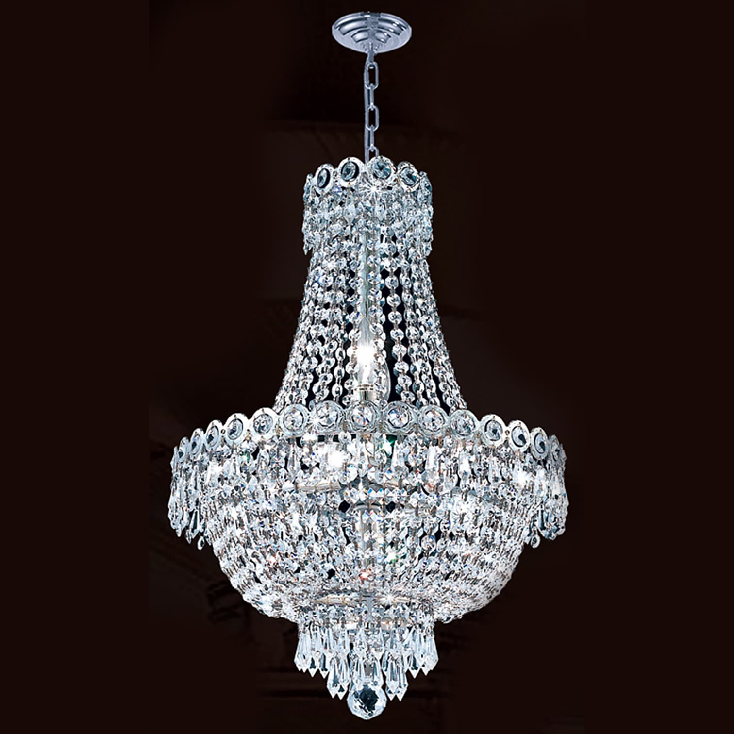 French Empire 8 Light Chrome Finish Clear Crystal Chandelier