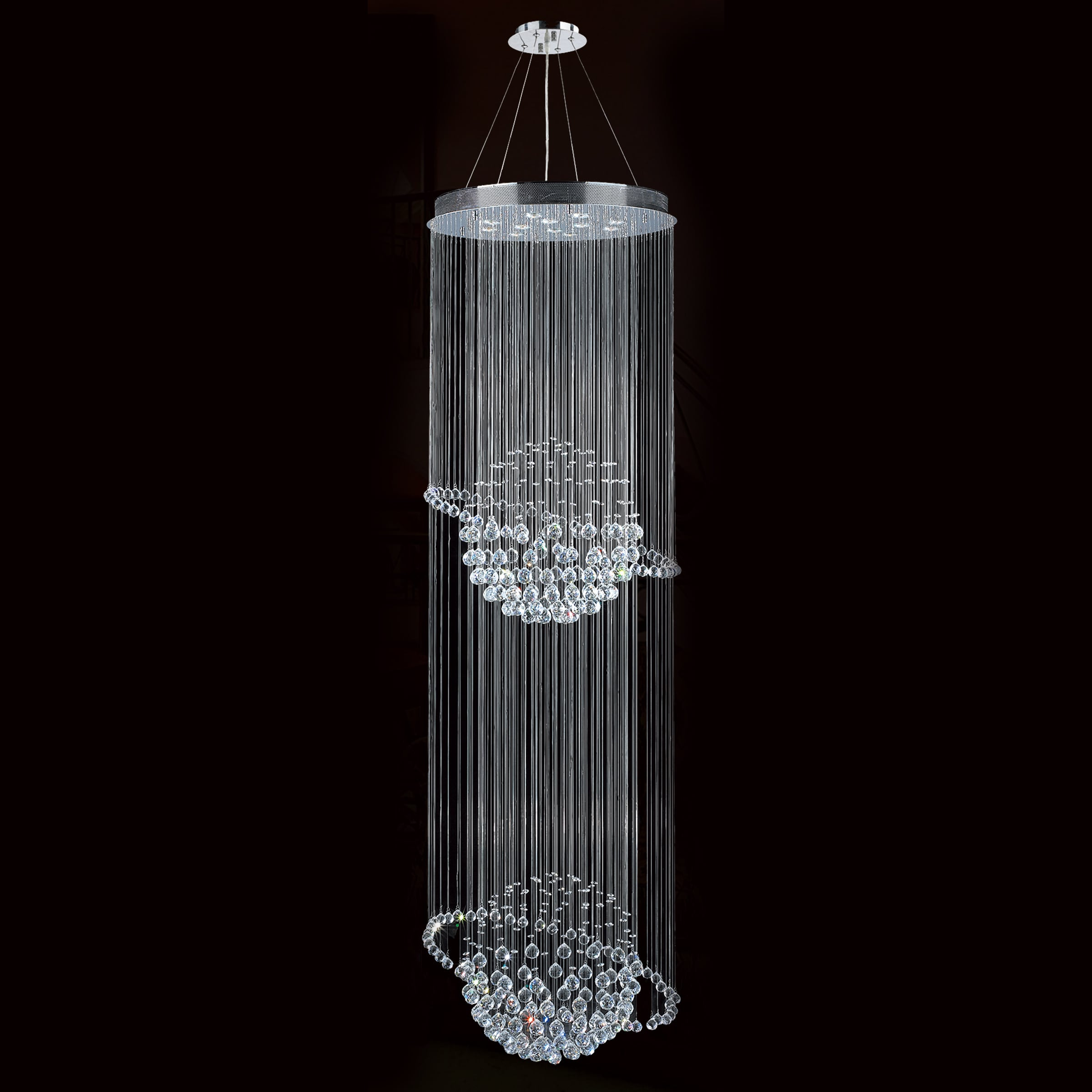 Galaxy 12 light chrome finish and clear crystal modern chandelier galaxy 12 light chrome finish and clear crystal modern chandelier two 2 tier large 28 wide x 96 long free shipping today overstock 17838966 arubaitofo Images