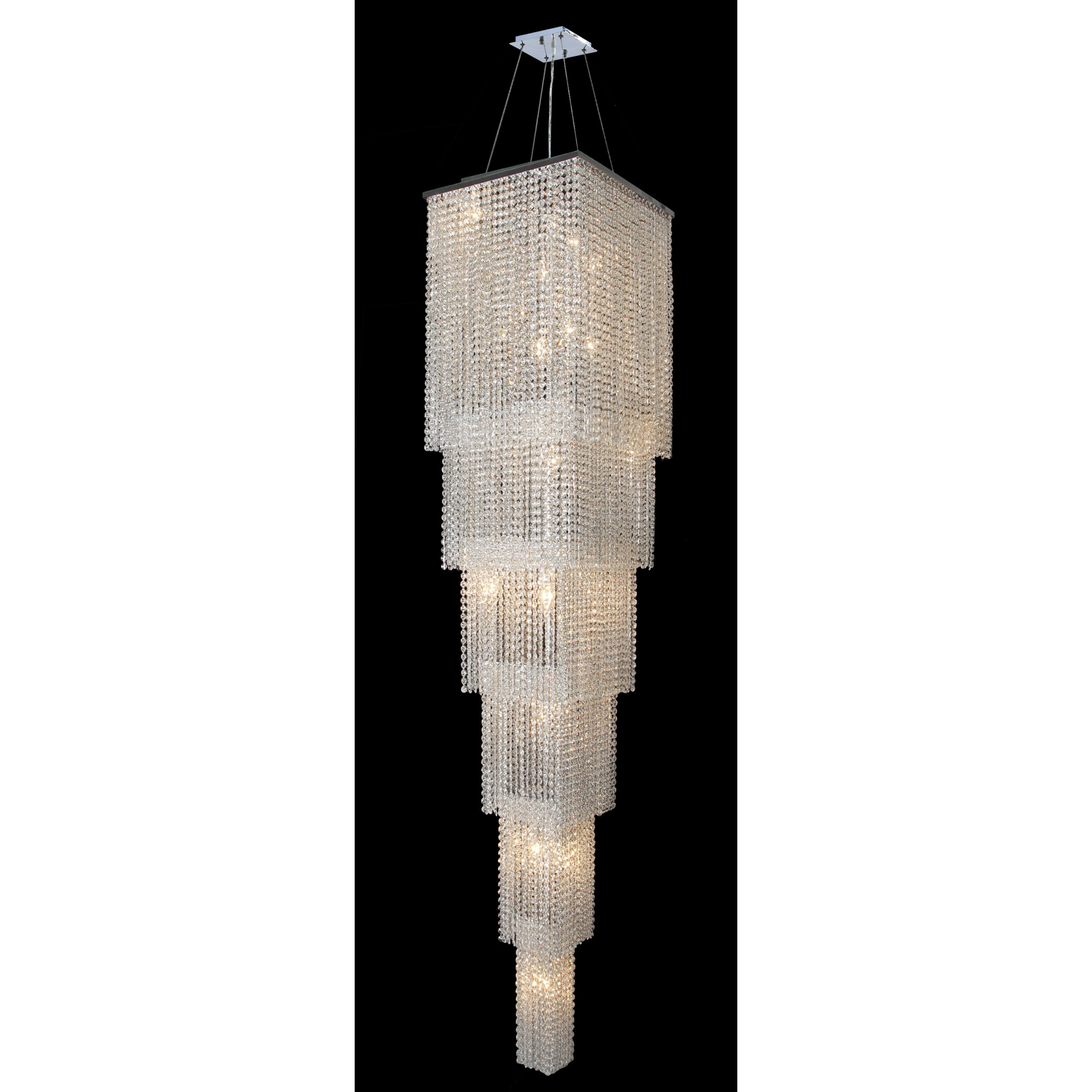 Spectacular 21 light chrome finish and cascading crystal string spectacular 21 light chrome finish and cascading crystal string chandelier six 6 tier 16 square x 8 free shipping today overstock 17839121 arubaitofo Gallery