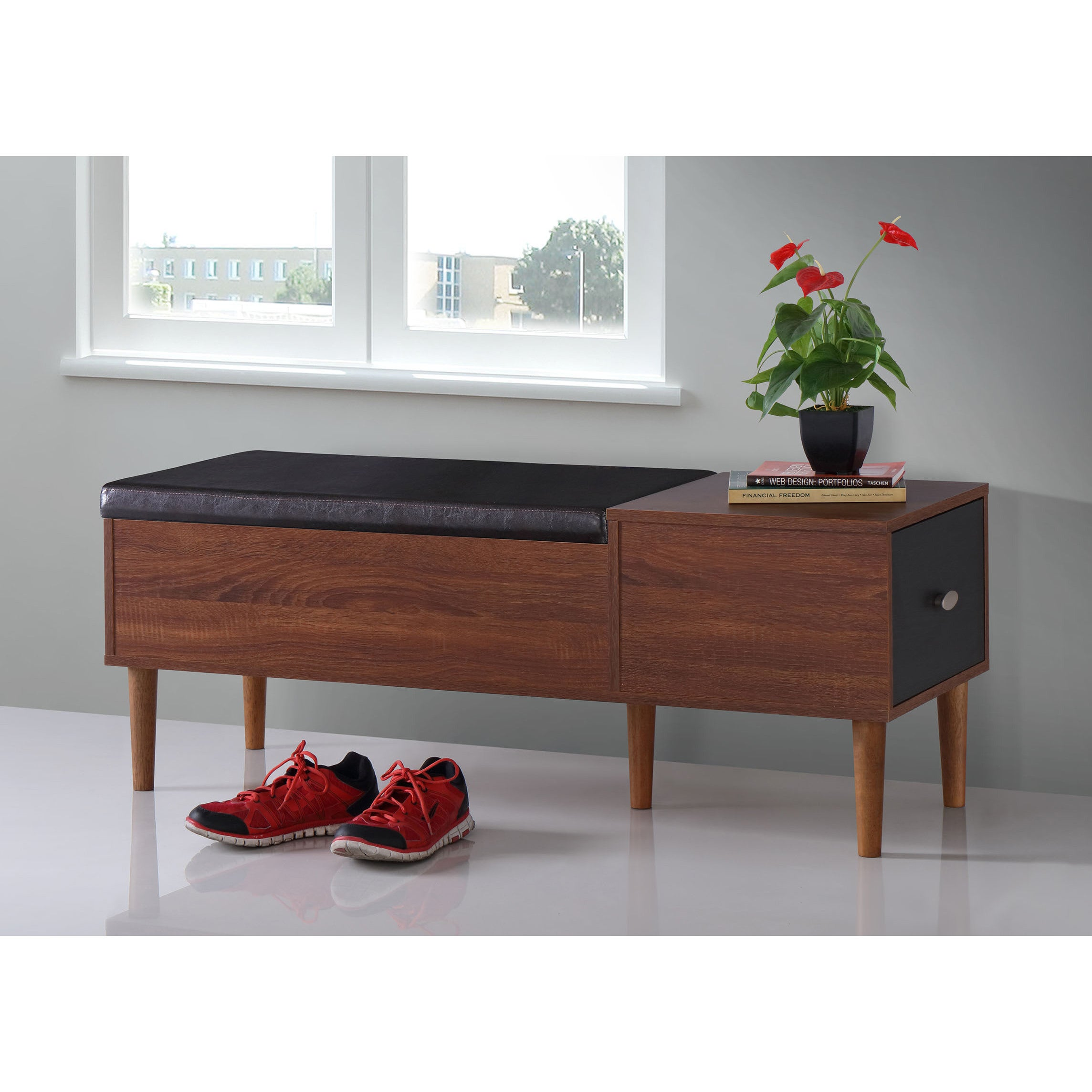 midcentury drawer shoe storage bench by baxton studio  free  - midcentury drawer shoe storage bench by baxton studio