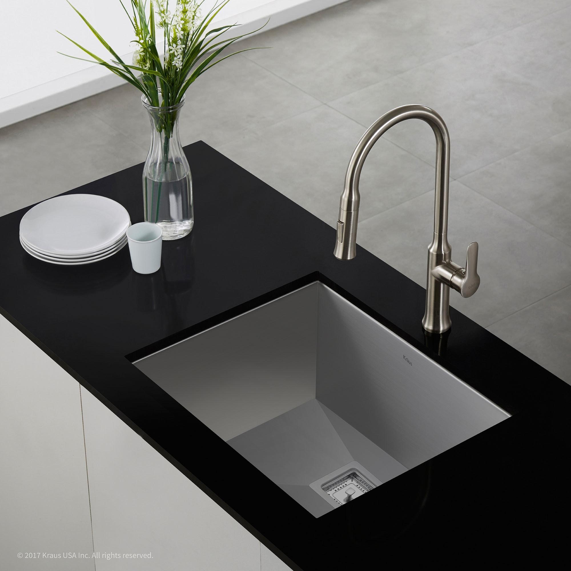 Kraus Usa Inc kraus pax zero radius 22 1 2 inch handmade undermount single bowl 16