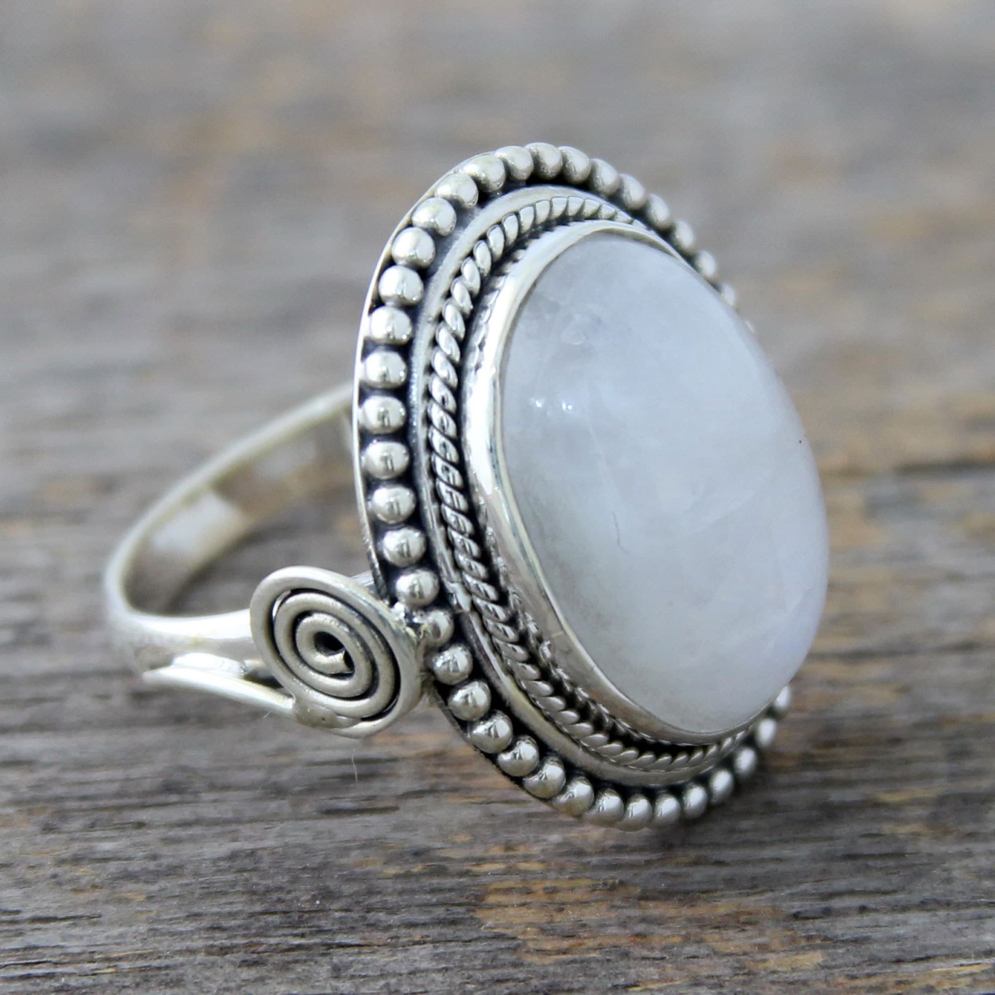 yellow gold ring forged sterling studio rings cedar and white silver moonstone