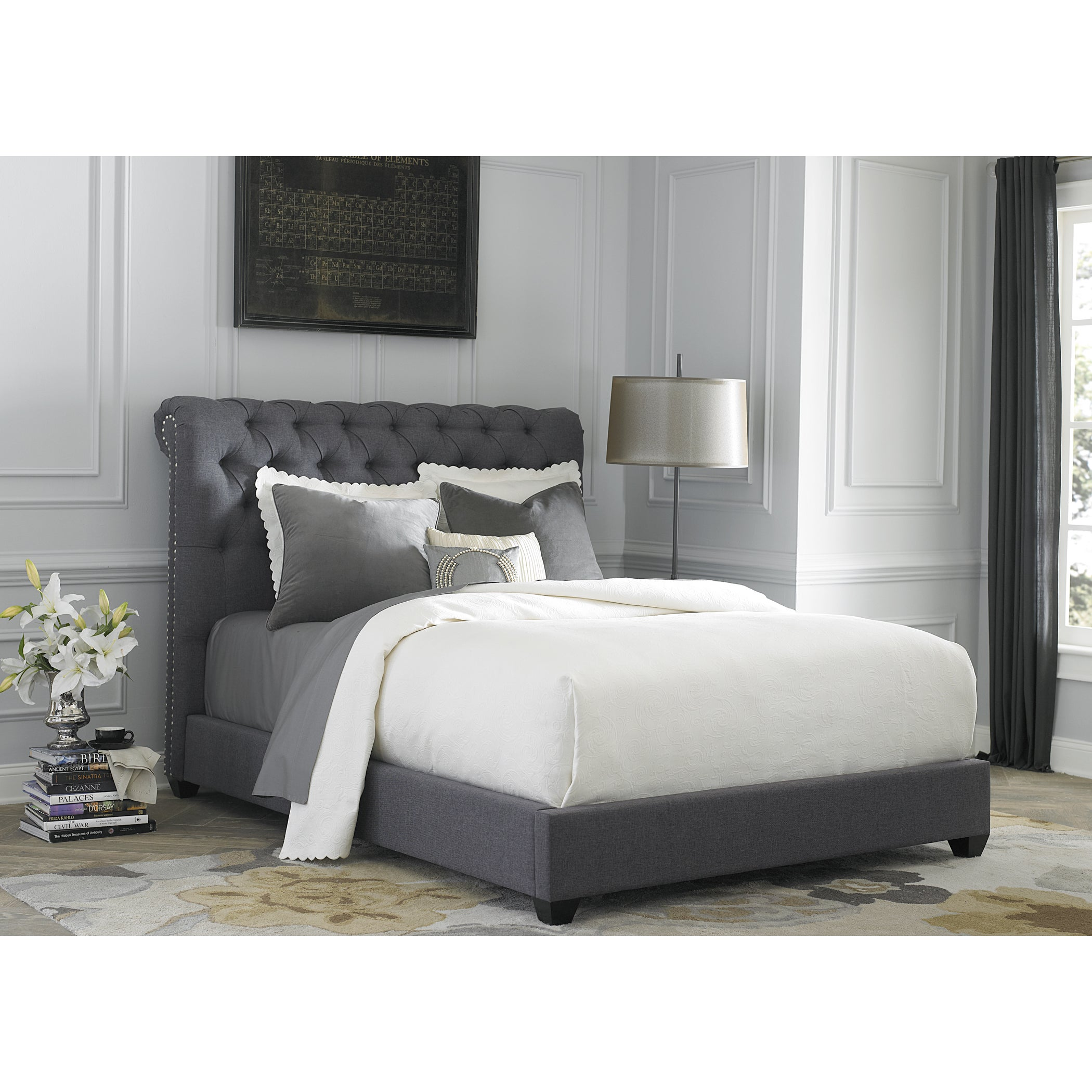 white upholstered beds. Dark Gray Linen Chesterfield Sleigh Upholstered Bed Set - Free Shipping Today Overstock 17839489 White Beds O