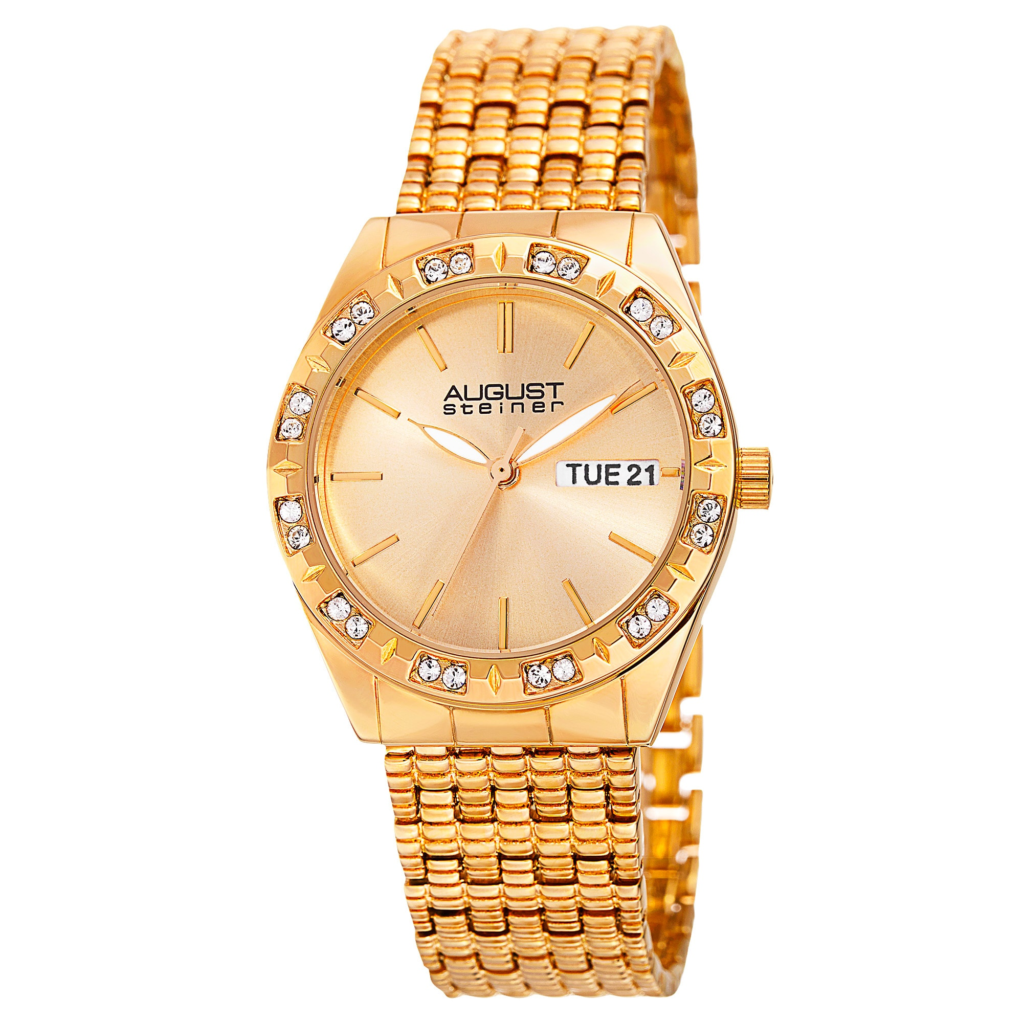 85723b8dbc3c Shop August Steiner Women s Diamond- Accented Alloy Built 3-Piece Gold-Tone  Bracelet Watch Set - GOLD - Free Shipping Today - Overstock - 10792423