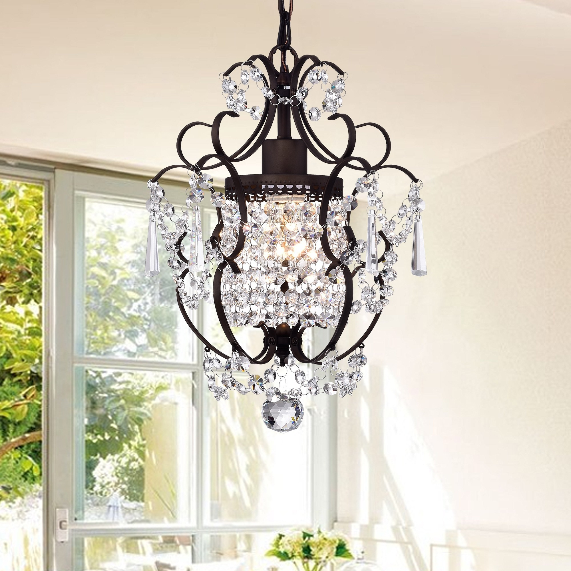 Rosalie 1 light Antique Bronze 11 inch Crystal Chandelier Free