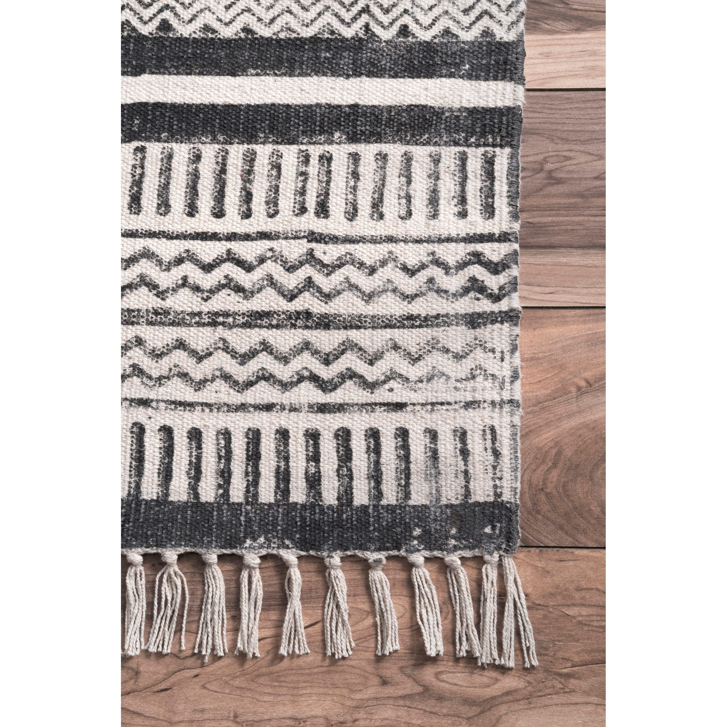 Nuloom Handmade Flatweave Textured Stripes Cotton Fringe Grey Rug 7 6 X 9 Free Shipping Today Com 17854820