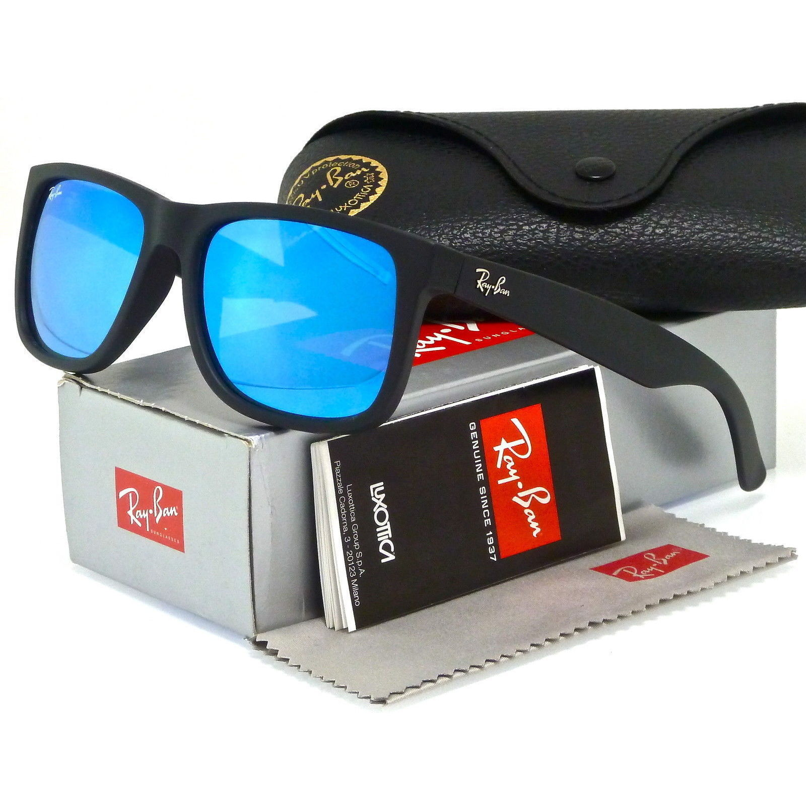 38c7de27840 Shop Ray-Ban Justin Color Mix RB 4165 Unisex Black Frame Blue Mirror Lens  Sunglasses - Free Shipping Today - Overstock - 10809682