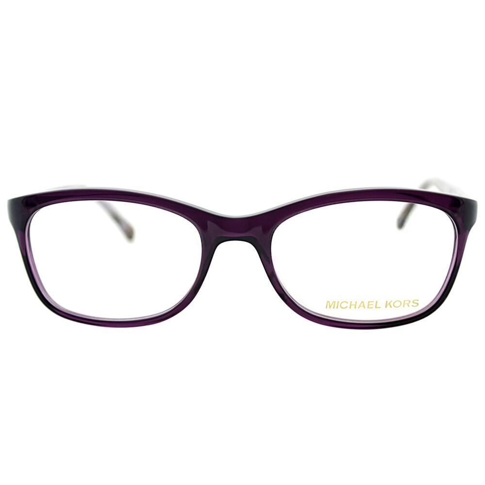 ed696902f8e7 Michael Kors Womens MK 281 533 Plum Rectangle Plastic Eyeglasses-52mm