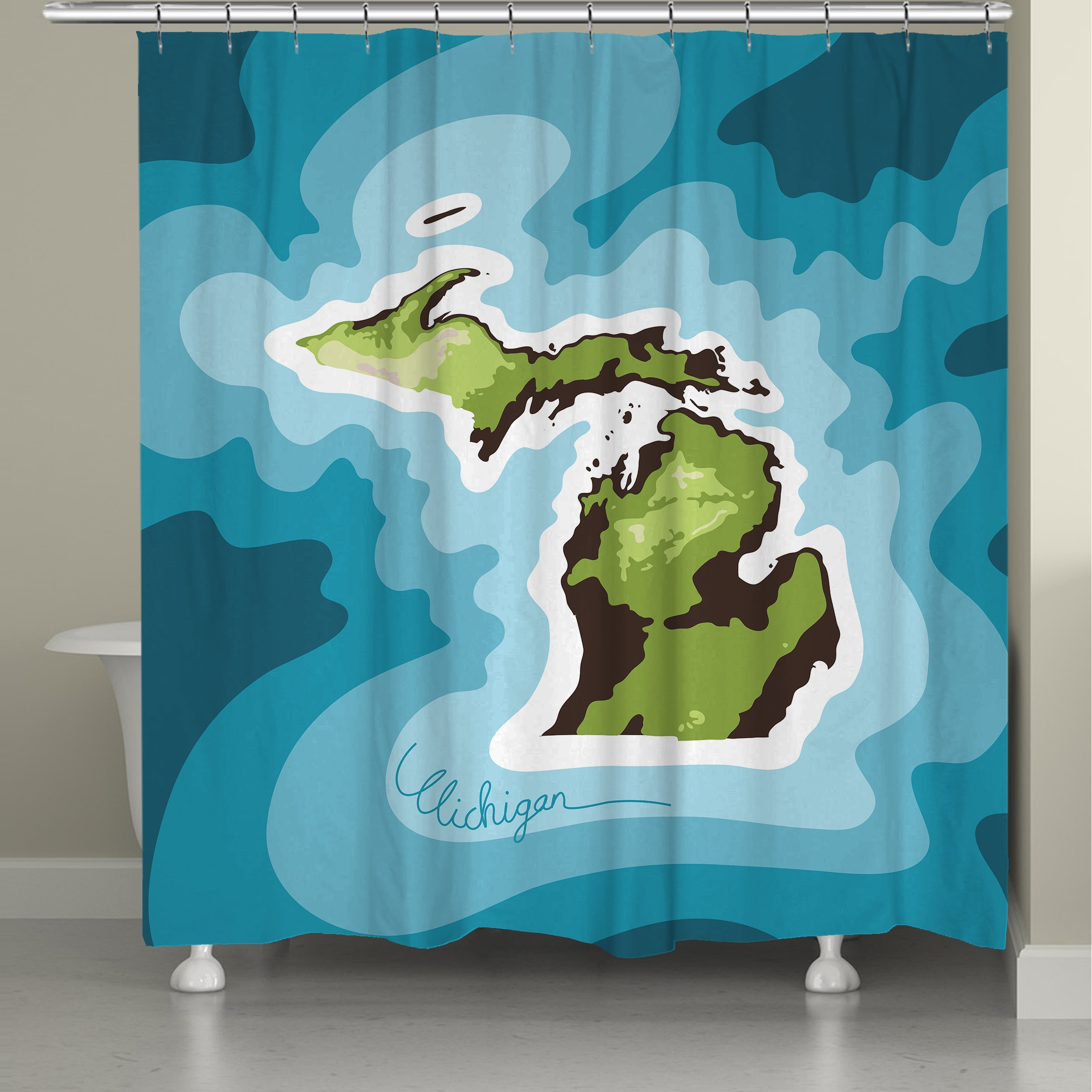 Shop Laural Home Michigan Topographic Abstract Map Shower Curtain 71x74