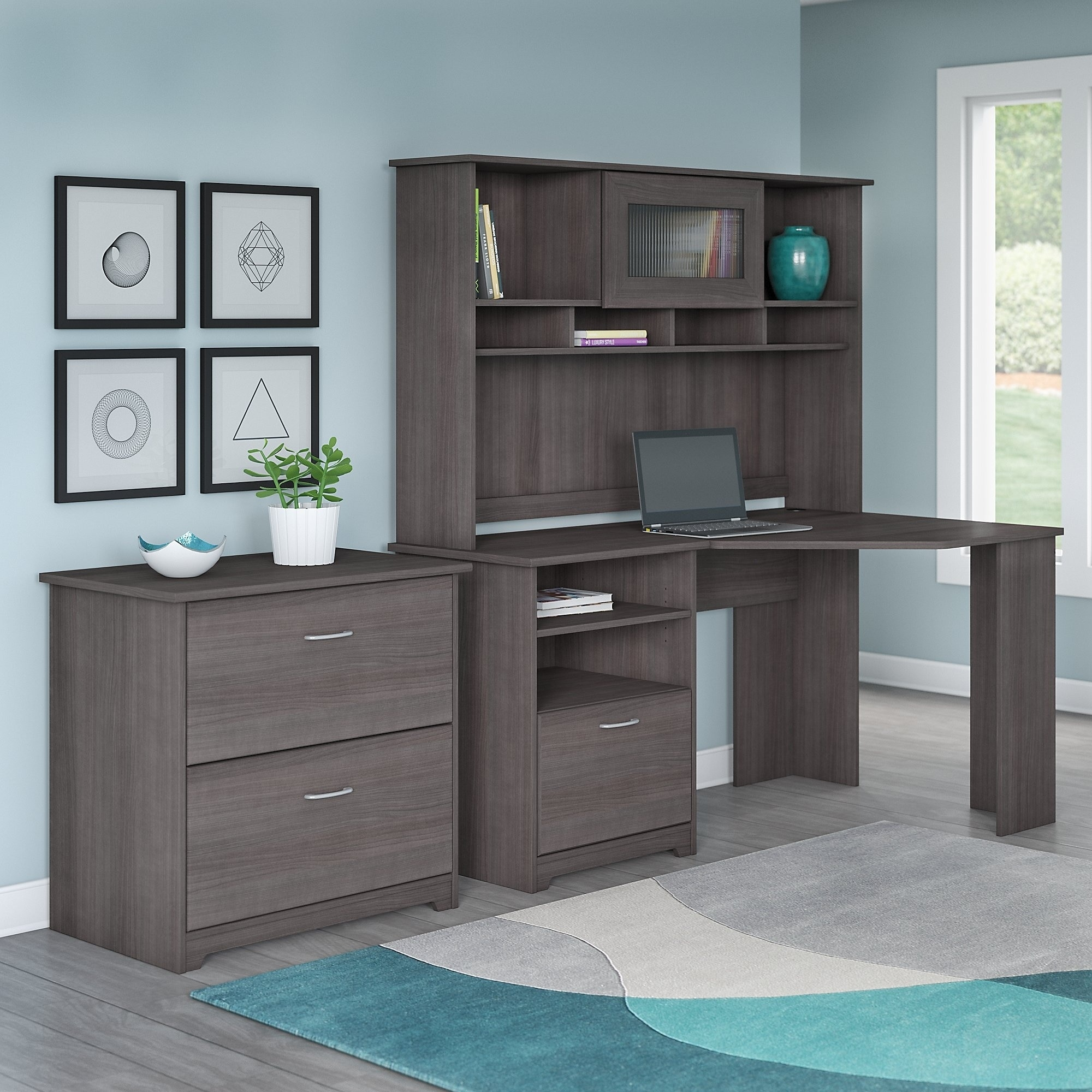 Cabot Corner Desk With Hutch And Lateral File Cabinet Free Shipping Today 10812052