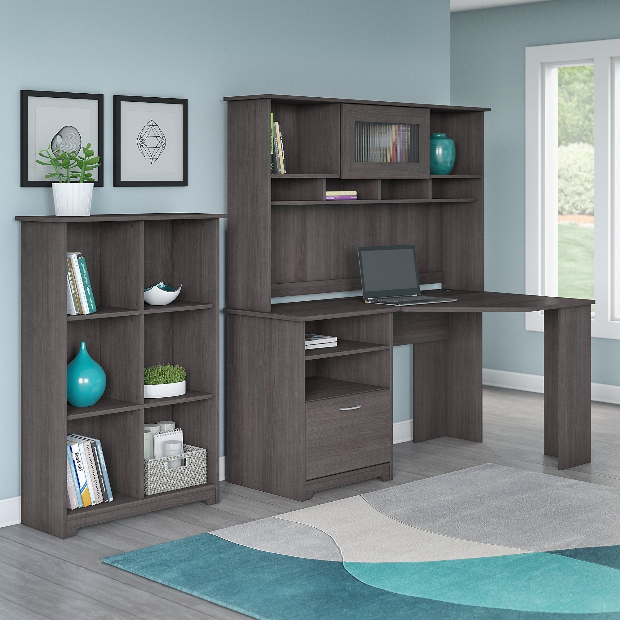 Cabot Corner Desk With Hutch And 6 Cube Bookcase Free Shipping Today 10812068