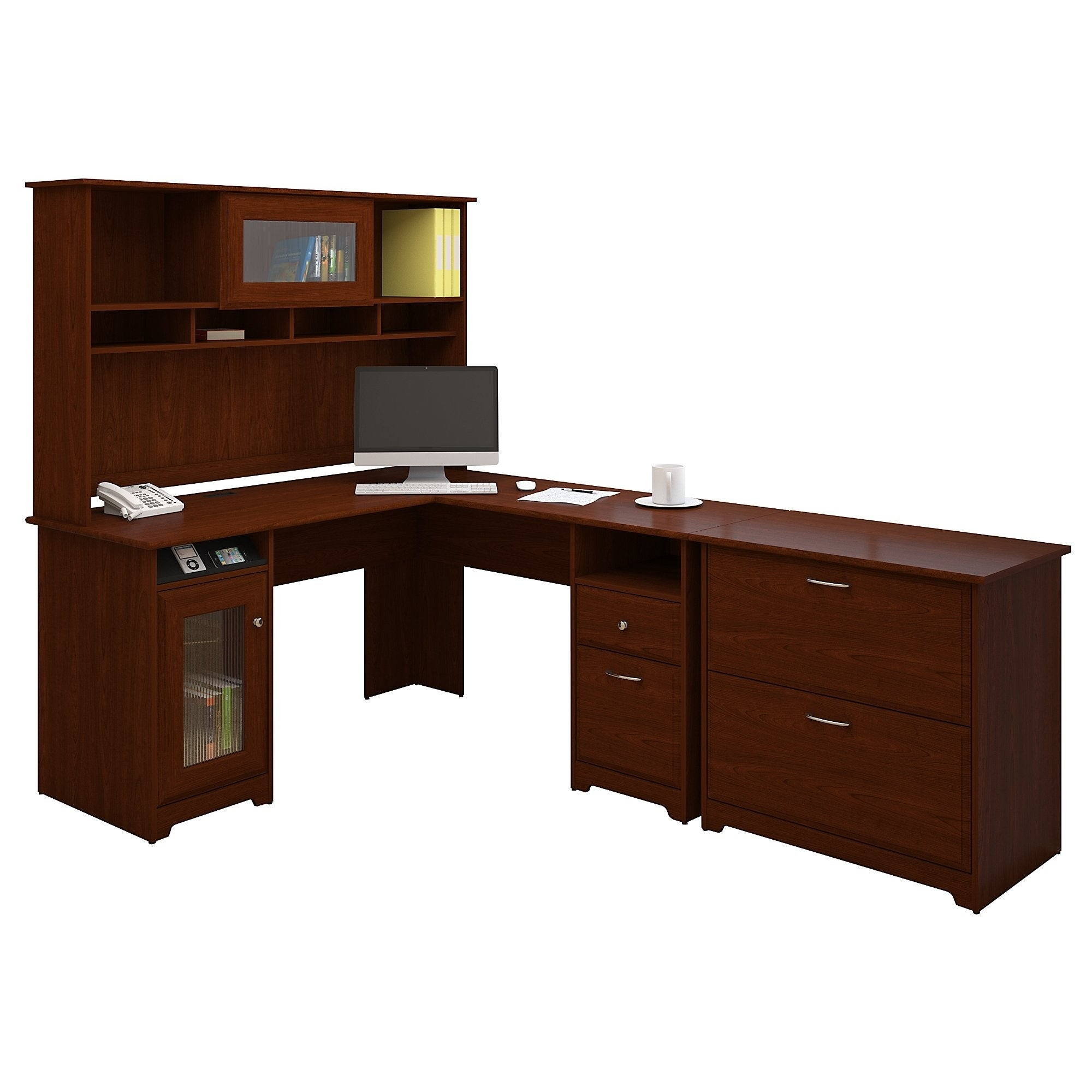 Shop Cabot L Shaped Desk With Hutch And Lateral File Cabinet   Free  Shipping Today   Overstock.com   10812275