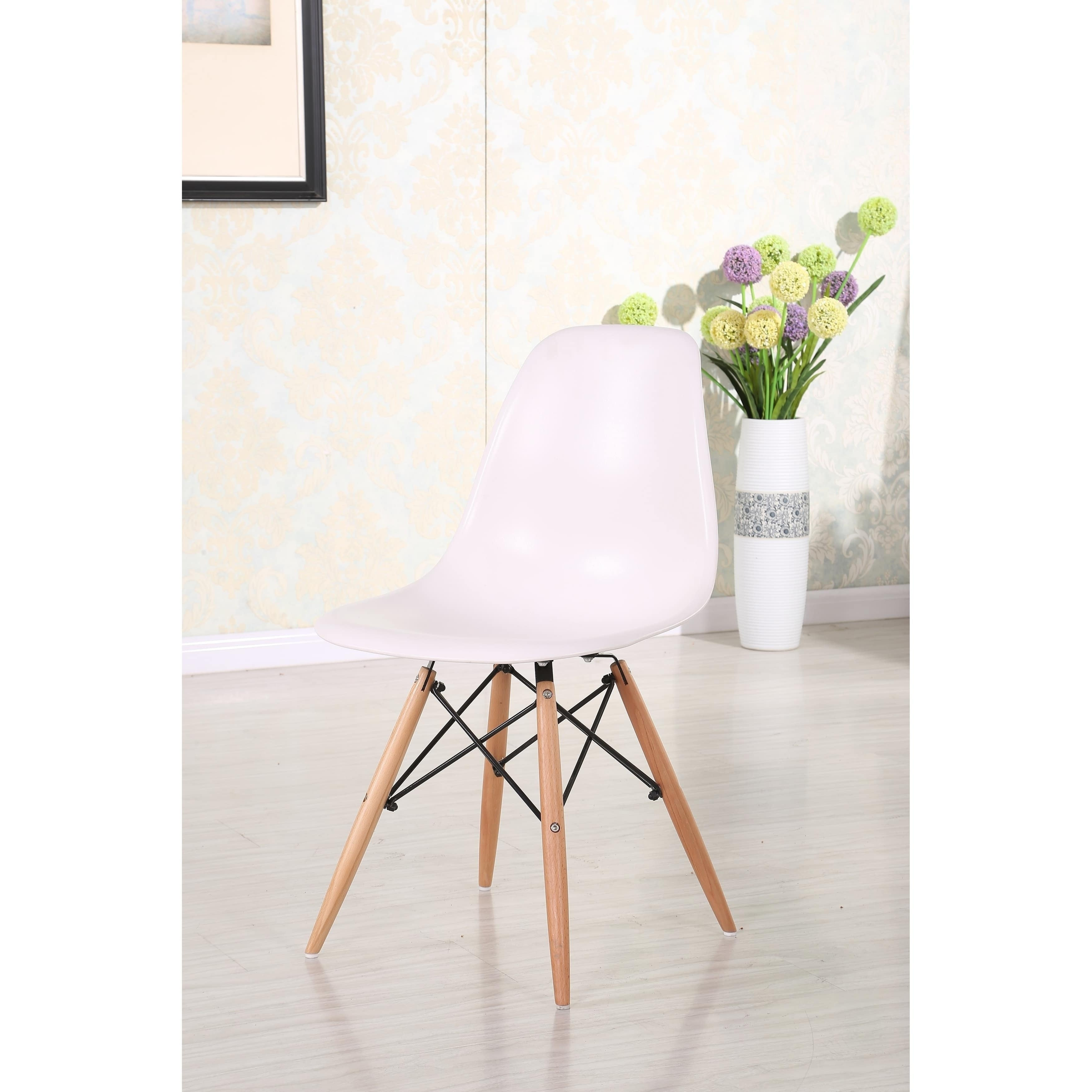 white plastic chair dark with molded eiffel wood leg eames dining walnut set legs chairs shell of style dsw