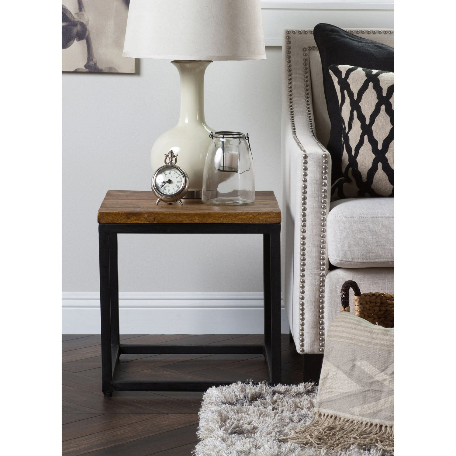 Shop Paris Natural Wood And Iron Inch Square Side Table By Kosas - 46 inch square coffee table