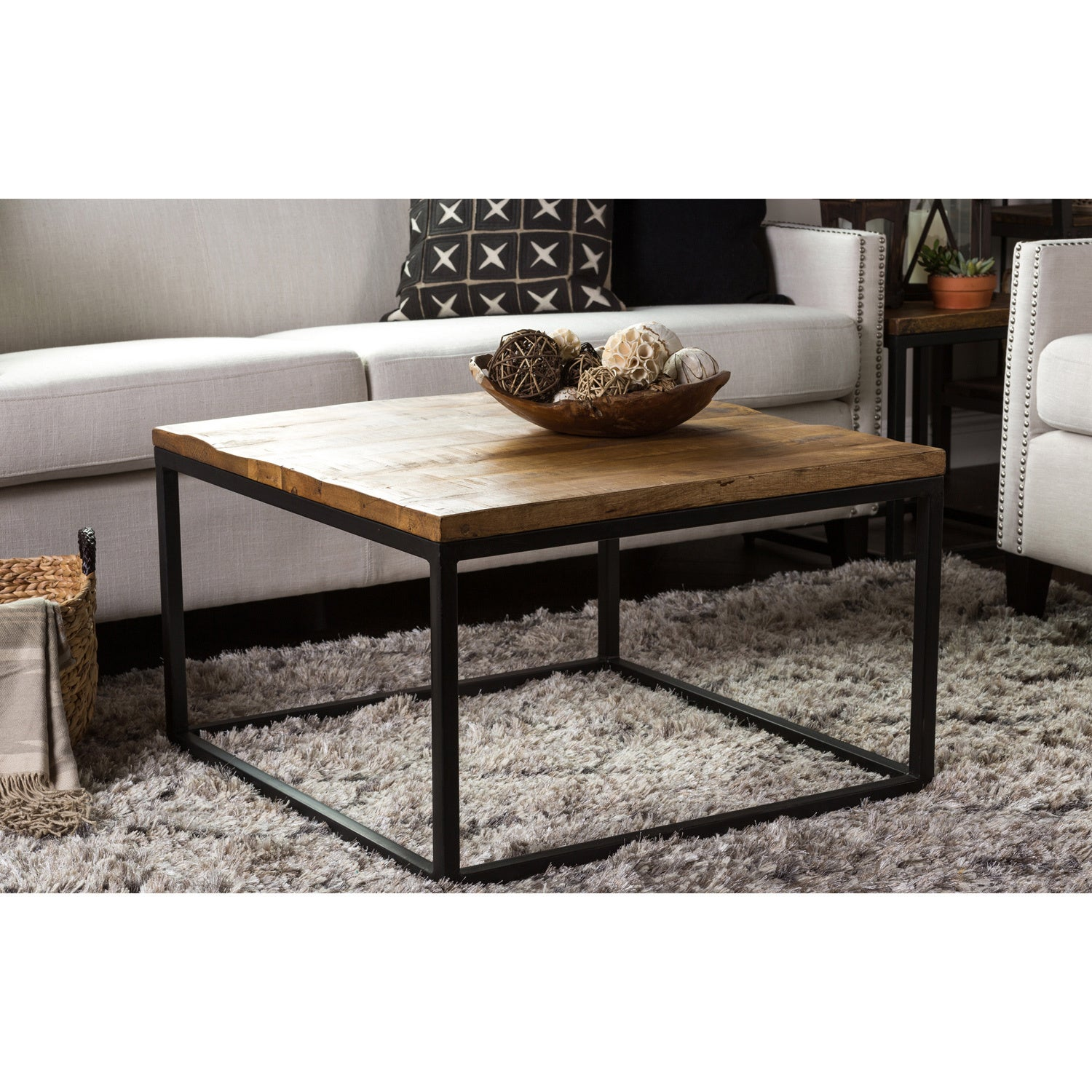 Shop Paris Natural Wood And Iron 30 Inch Square Coffee Table By Kosas Home    Free Shipping Today   Overstock.com   10812699