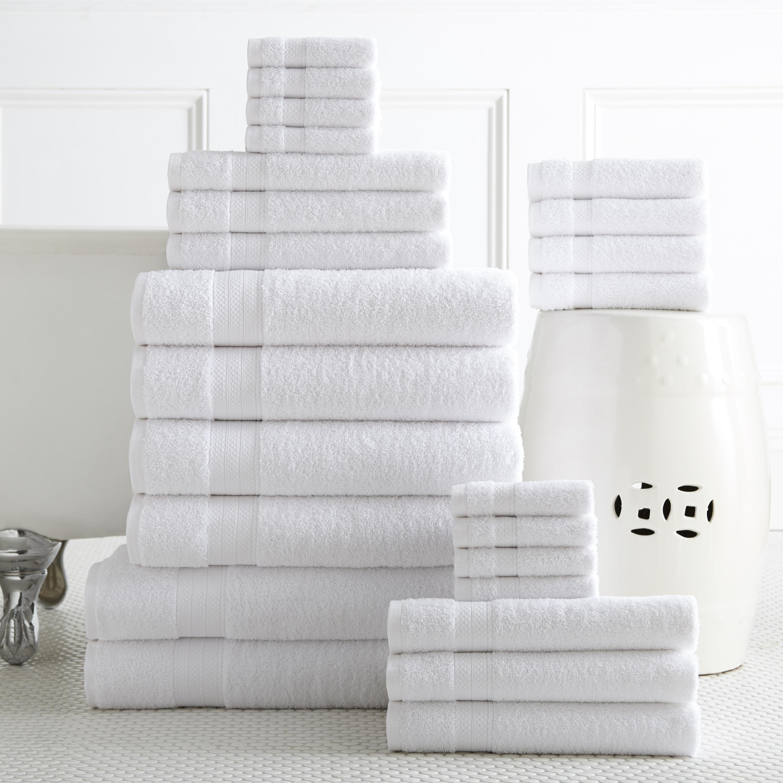 white bath towel. Shop 100-percent Plush Cotton 24-piece Economic Bath Towel Set - On Sale Free Shipping Today Overstock.com 10812757 White