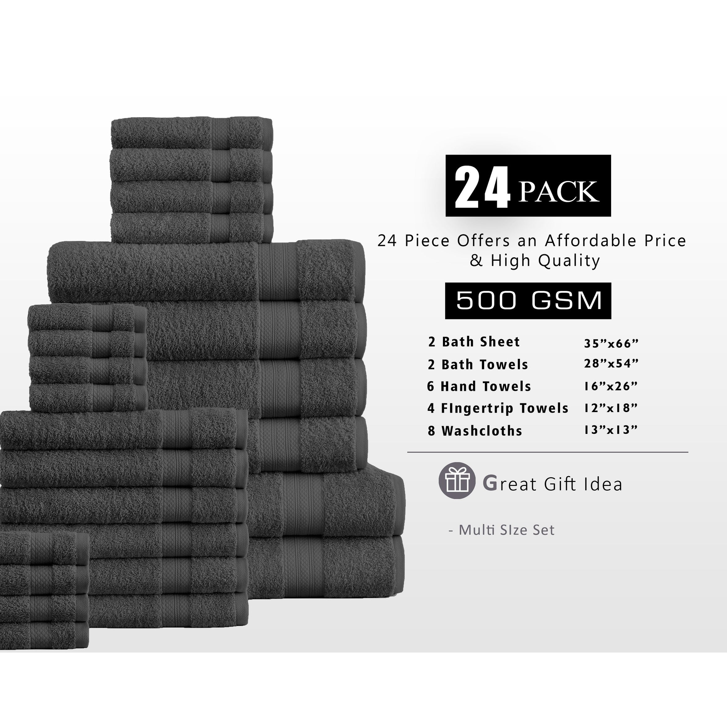 Shop 100 Percent Plush Cotton 24 Piece Economic Bath Towel Set Free Shipping Today Overstock 10812757