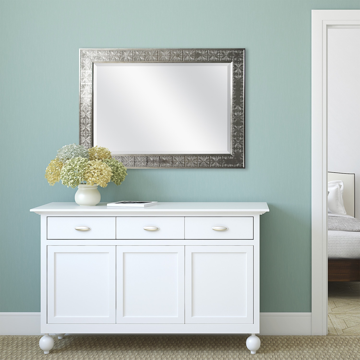 Shop Stamped Silver Medallion Finish Beveled Mirror - Free Shipping ...