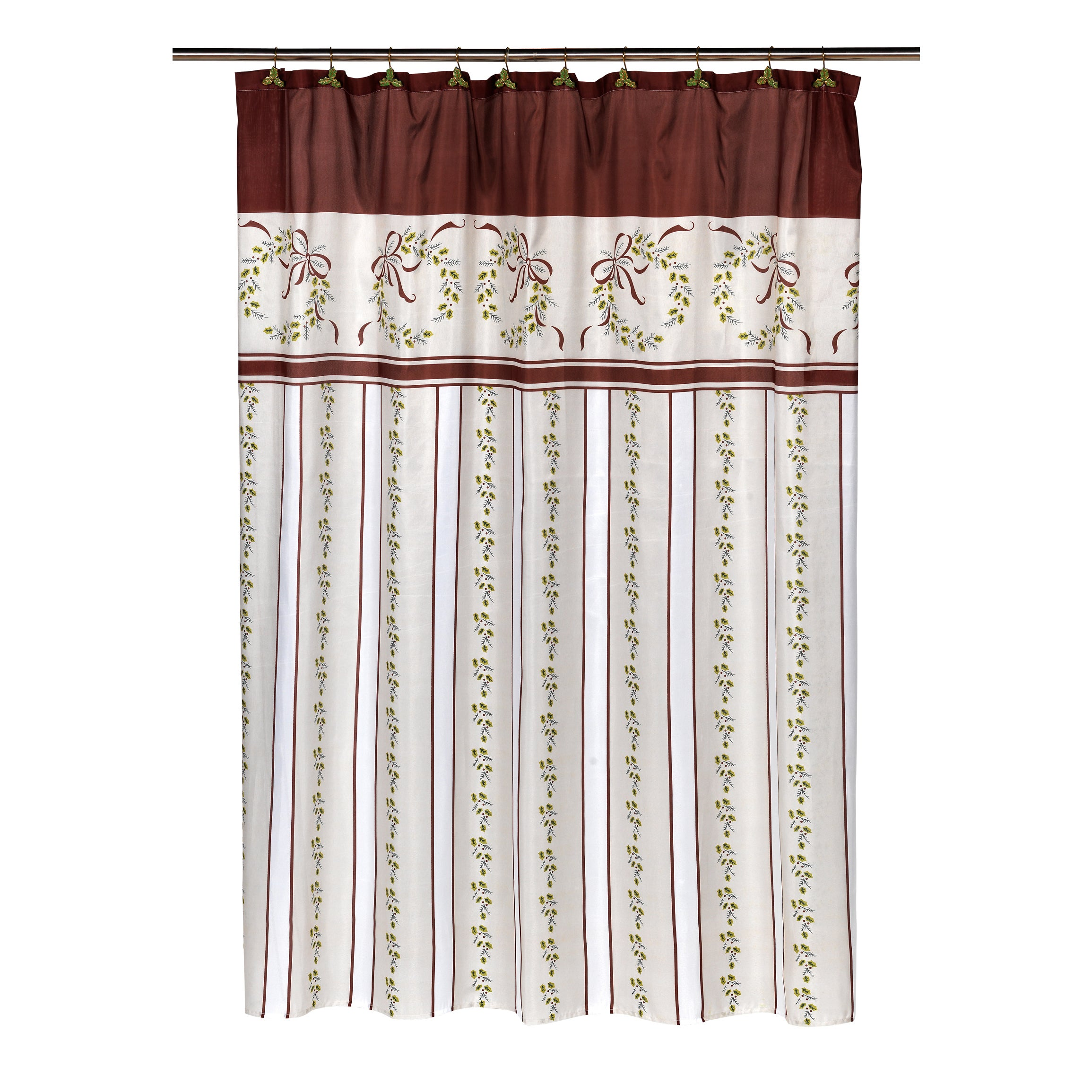 14 Piece Victorian Christmas Holiday Themed Shower Curtain Ensemble