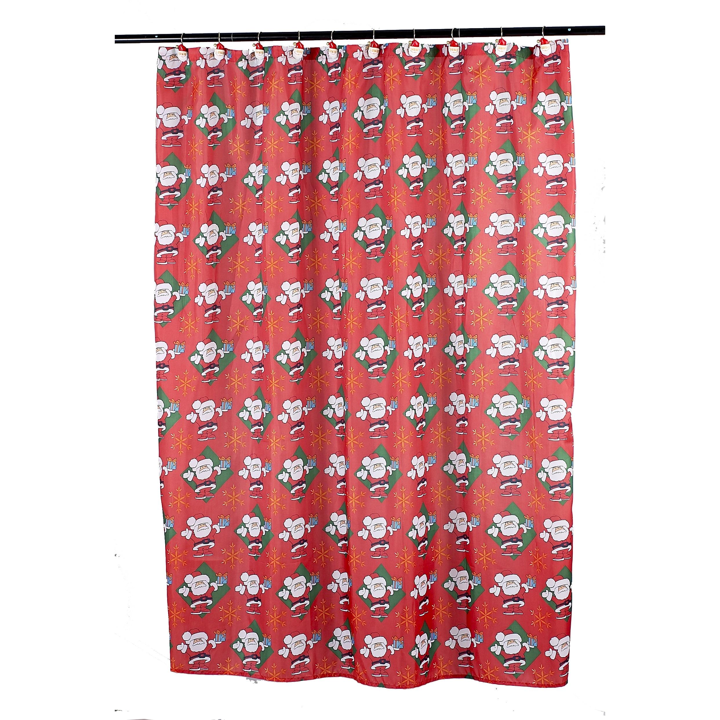 14 Piece Christmas Santa Claus Holiday Themed Shower Curtain Ensemble