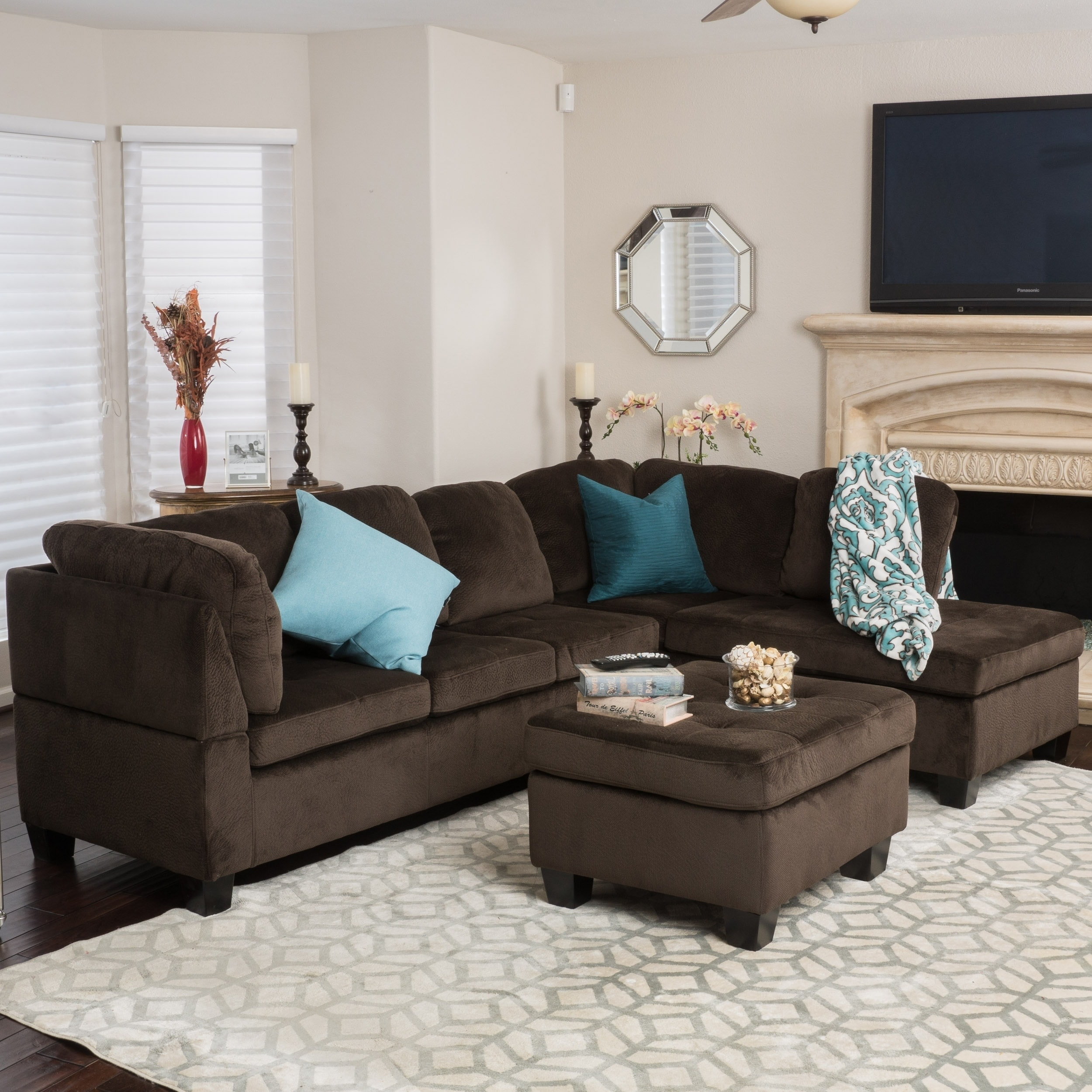 Shop canterbury 3 piece fabric sectional sofa set by christopher knight home on sale free shipping today overstock com 10814121