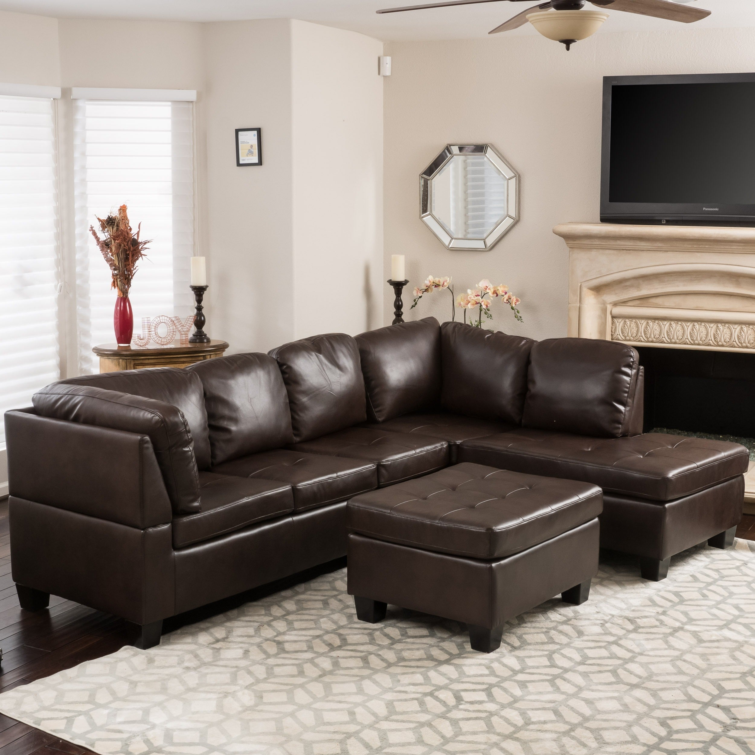 Canterbury 3 Piece PU Leather Sectional Sofa Set By Christopher Knight Home    Free Shipping Today   Overstock   17868550