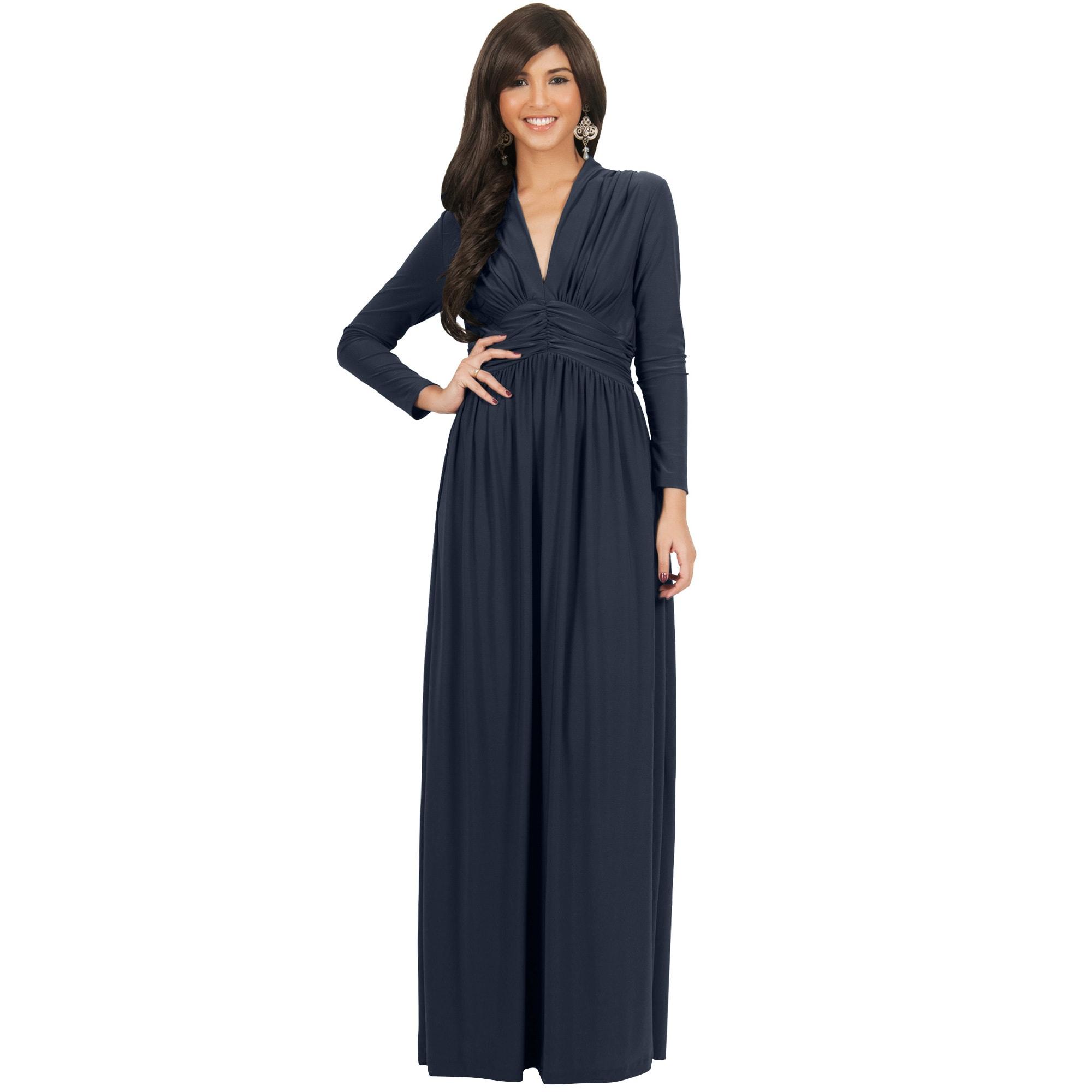 ed02124e95e0 Shop KOH KOH Women s Vintage Inspired V-neck Long Sleeve Maxi Dress - Free  Shipping Today - Overstock - 10835718