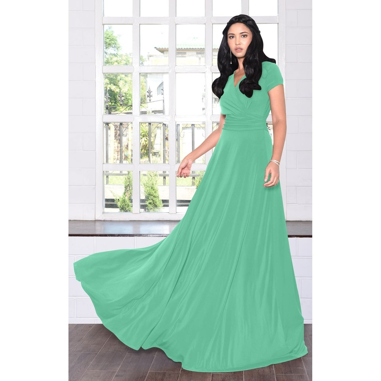 0cdc17daa59 Shop KOH KOH Women s Long Semi-Formal Short Cap Sleeve Maxi Dress Gown -  Free Shipping Today - Overstock - 10835719
