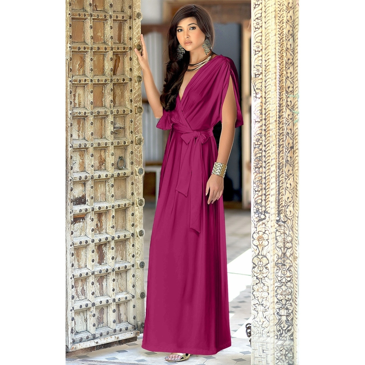 56c7ab96b3f Shop Koh Koh Women s Batwing Dolman Sleeve Elegant Cocktail Gown Maxi Dress  - Free Shipping Today - Overstock - 10835722