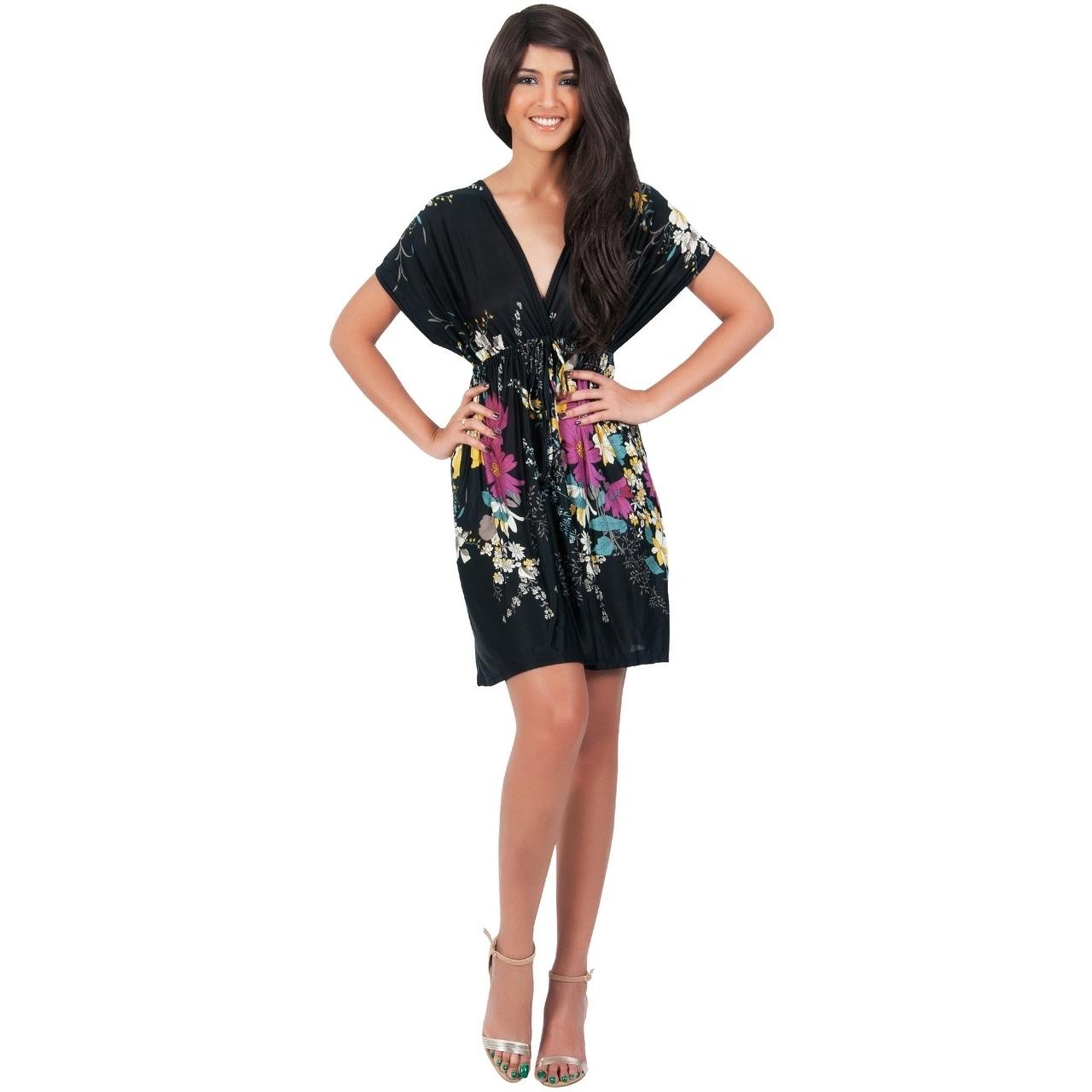 44feec23fff9 Shop KOH KOH Short Kimono Sleeve Floral Print Cover Up Kaftan Mini Dress -  Ships To Canada - Overstock - 10835725