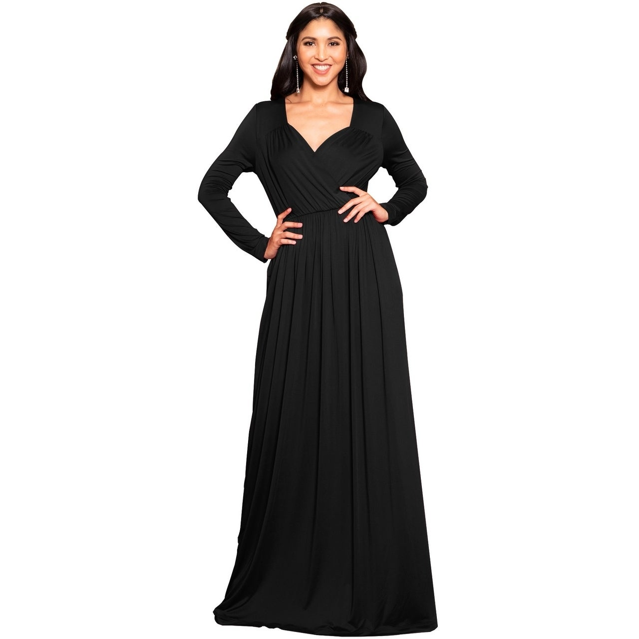 2b1b7789197 Shop KOH KOH Long Sleeve Flowy Slit Sexy Wrap Empire Waist Maxi Dress Gown  - Free Shipping Today - Overstock - 10835726