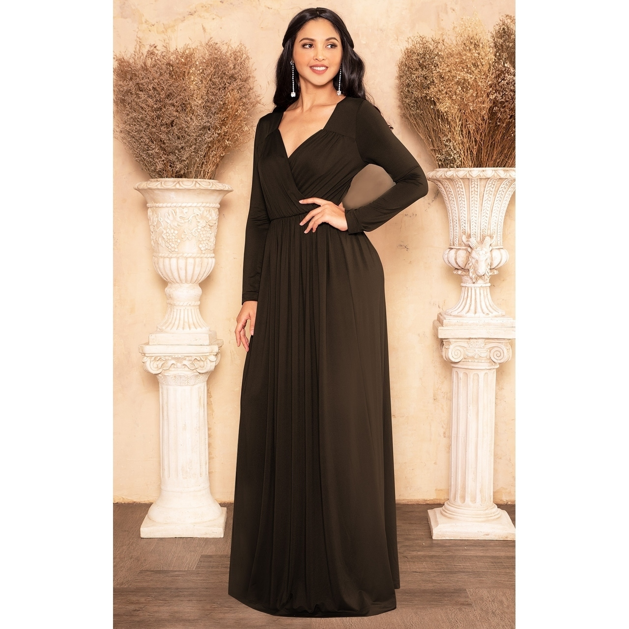 48f8dbe9ce Shop KOH KOH Long Sleeve Flowy Slit Sexy Wrap Empire Waist Maxi Dress Gown  - Free Shipping On Orders Over  45 - Overstock - 10835726