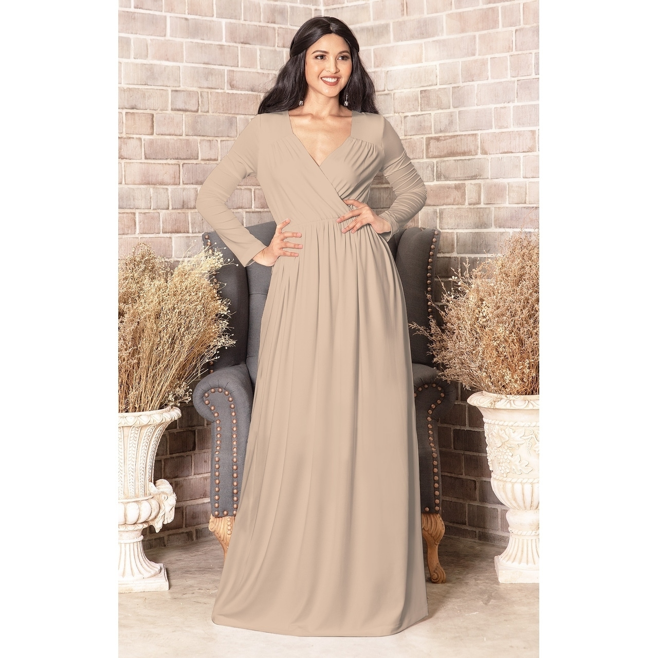 d8e6013cde9 Shop KOH KOH Long Sleeve Flowy Slit Sexy Wrap Empire Waist Maxi Dress Gown  - Free Shipping Today - Overstock - 10835726