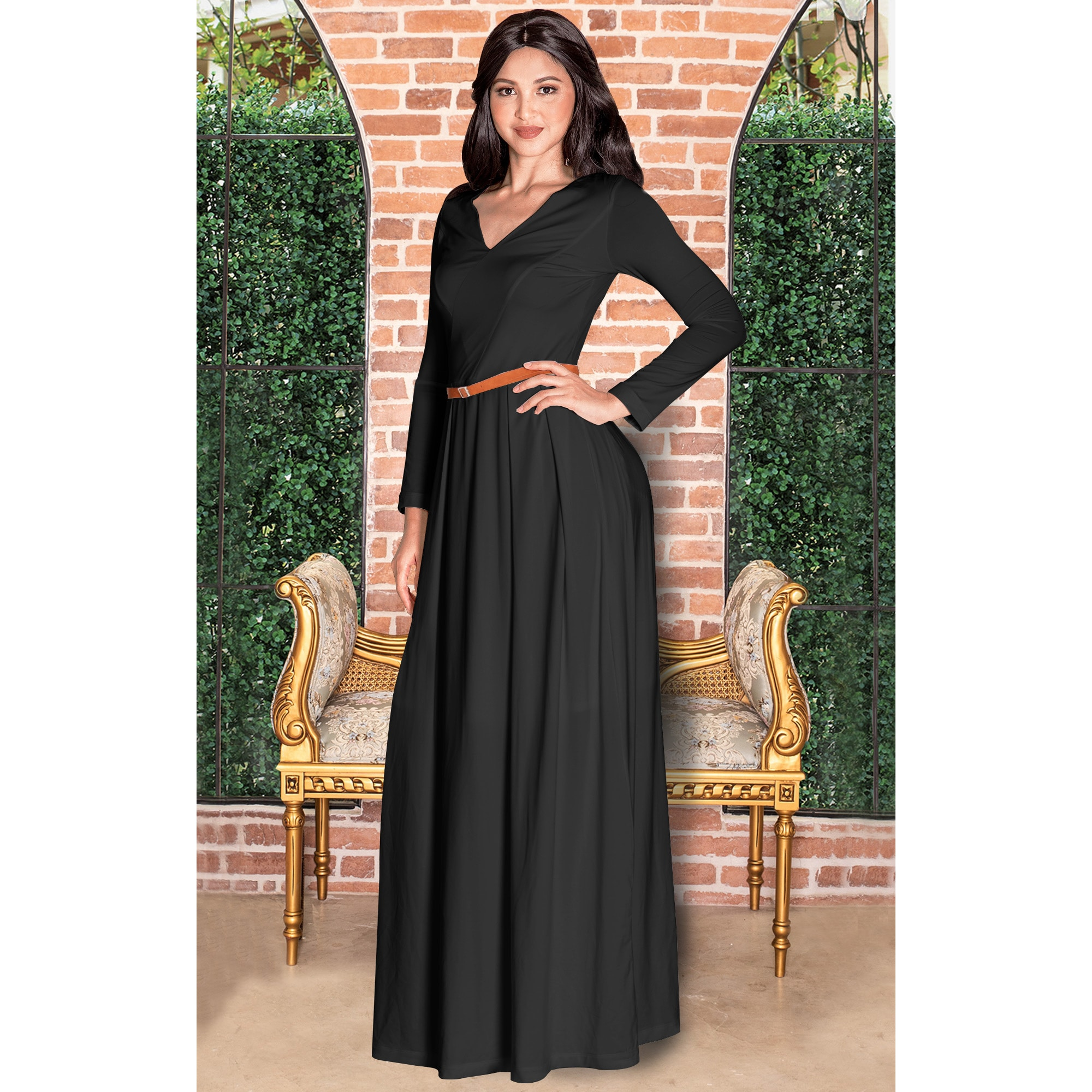 1b0e465ee077 Shop KOH KOH Long Sleeve Elegant Evening Flowy Dressy Fall Maxi Dress Gown  - Free Shipping On Orders Over  45 - Overstock - 10835728