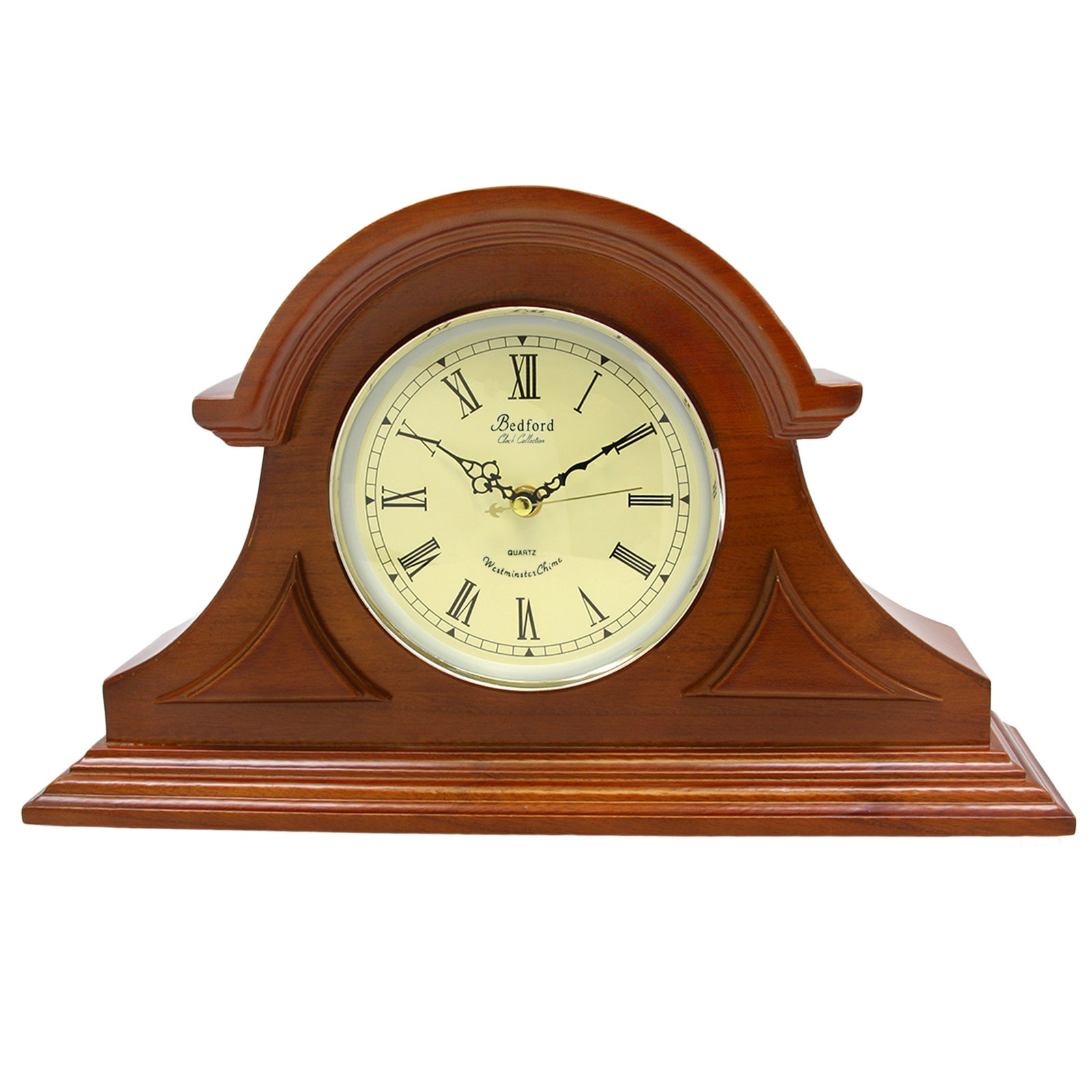 Bedford Clock Collection Mahogany Cherry Mantel Clock with Chimes ...