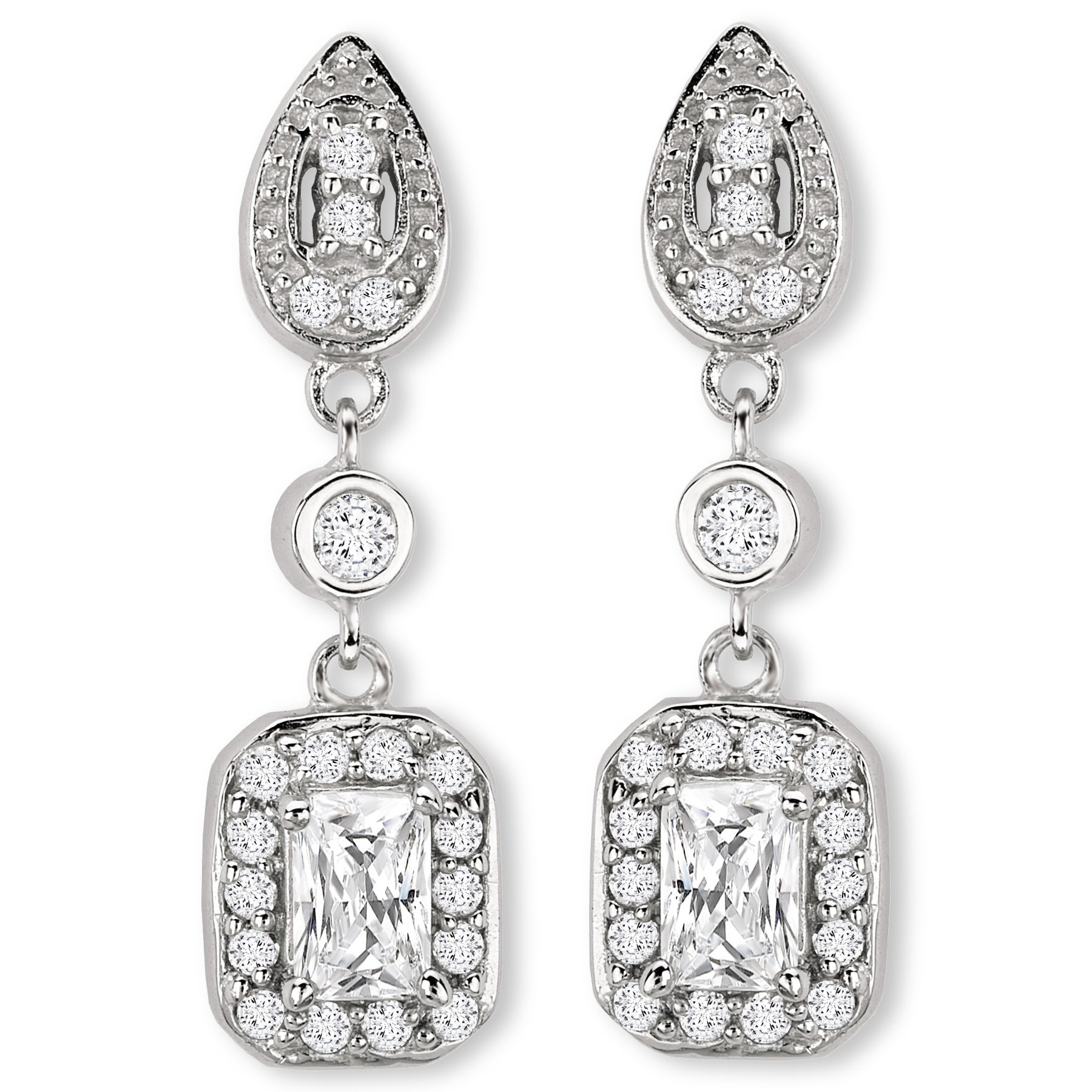 Avanti Sterling Silver Long Dangle Cubic Zirconia Earrings On Free Shipping Today 10837307