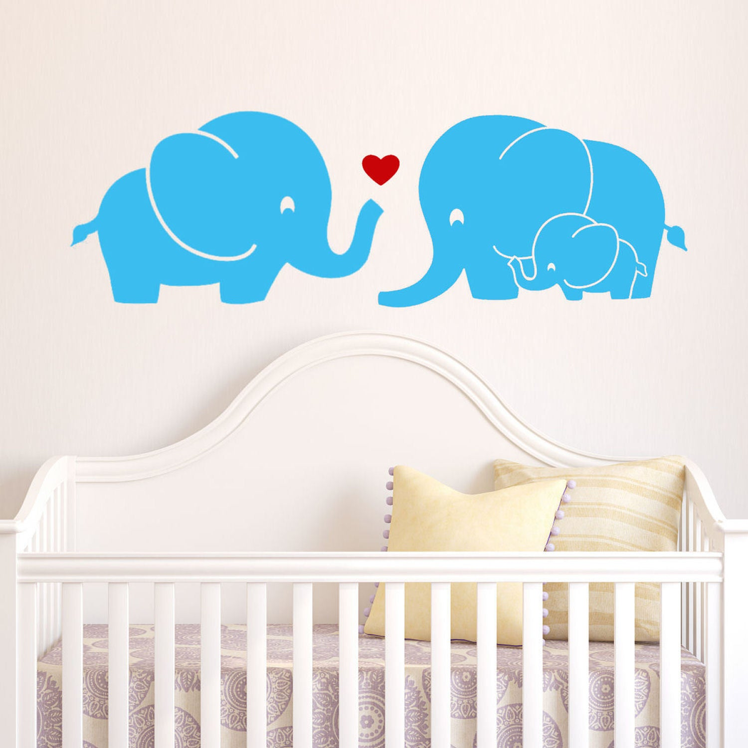Shop Elephant Family Wall Decal With Red Heart On Sale Free