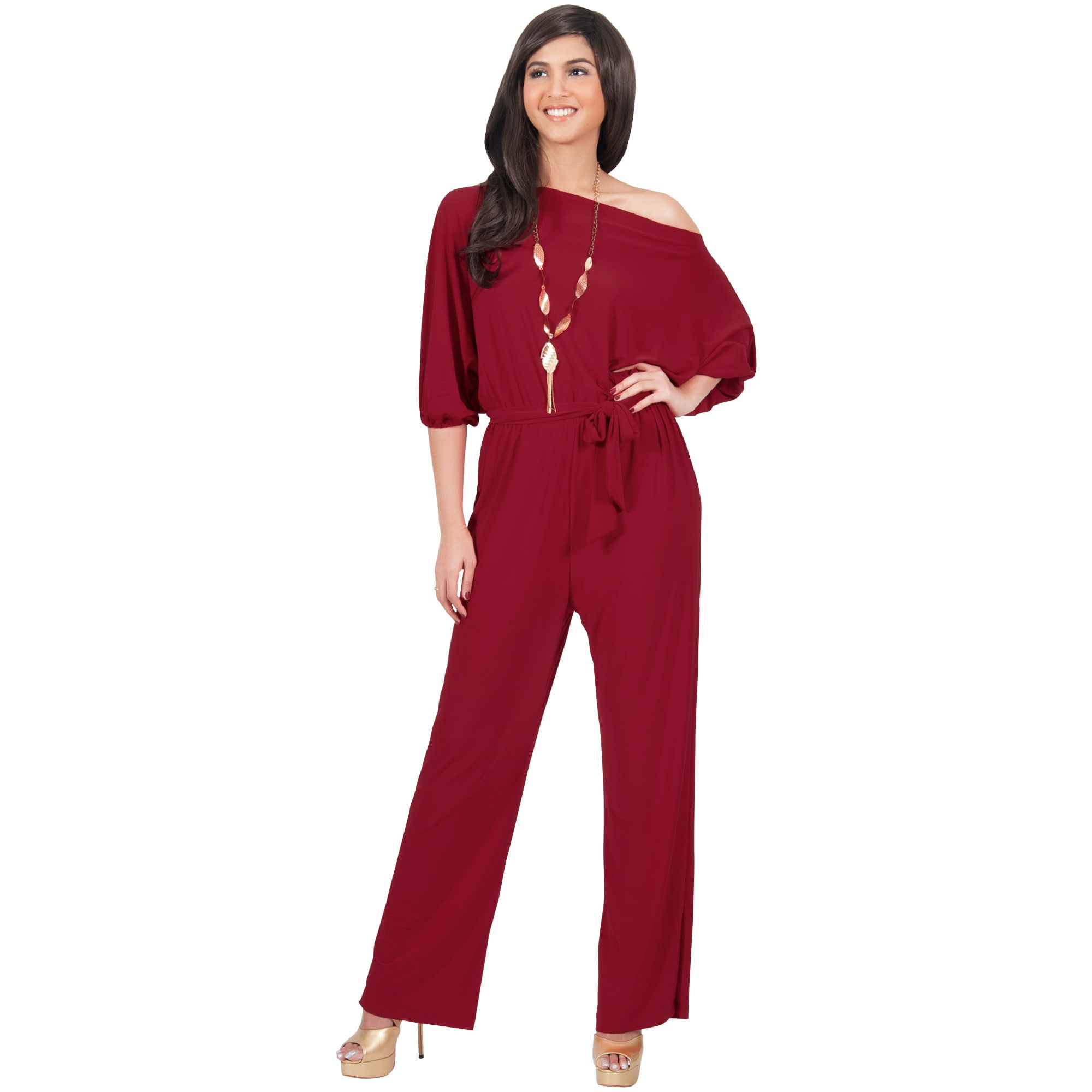 28bd12ccd9c Shop KOH KOH Long One Off Shoulder 3 4 Sleeve Dressy Sexy Cocktail Jumpsuit  - Free Shipping Today - Overstock - 10838013