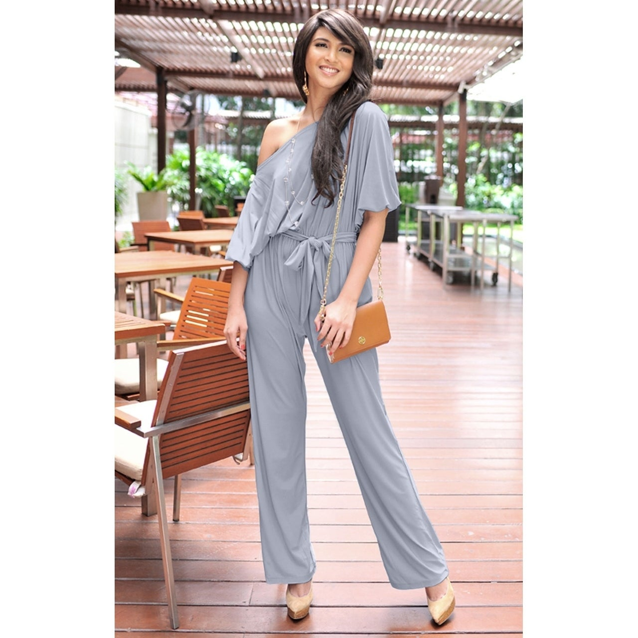77bc750e1136 Shop KOH KOH Long One Off Shoulder 3 4 Sleeve Dressy Sexy Cocktail Jumpsuit  - Free Shipping Today - Overstock - 10838013