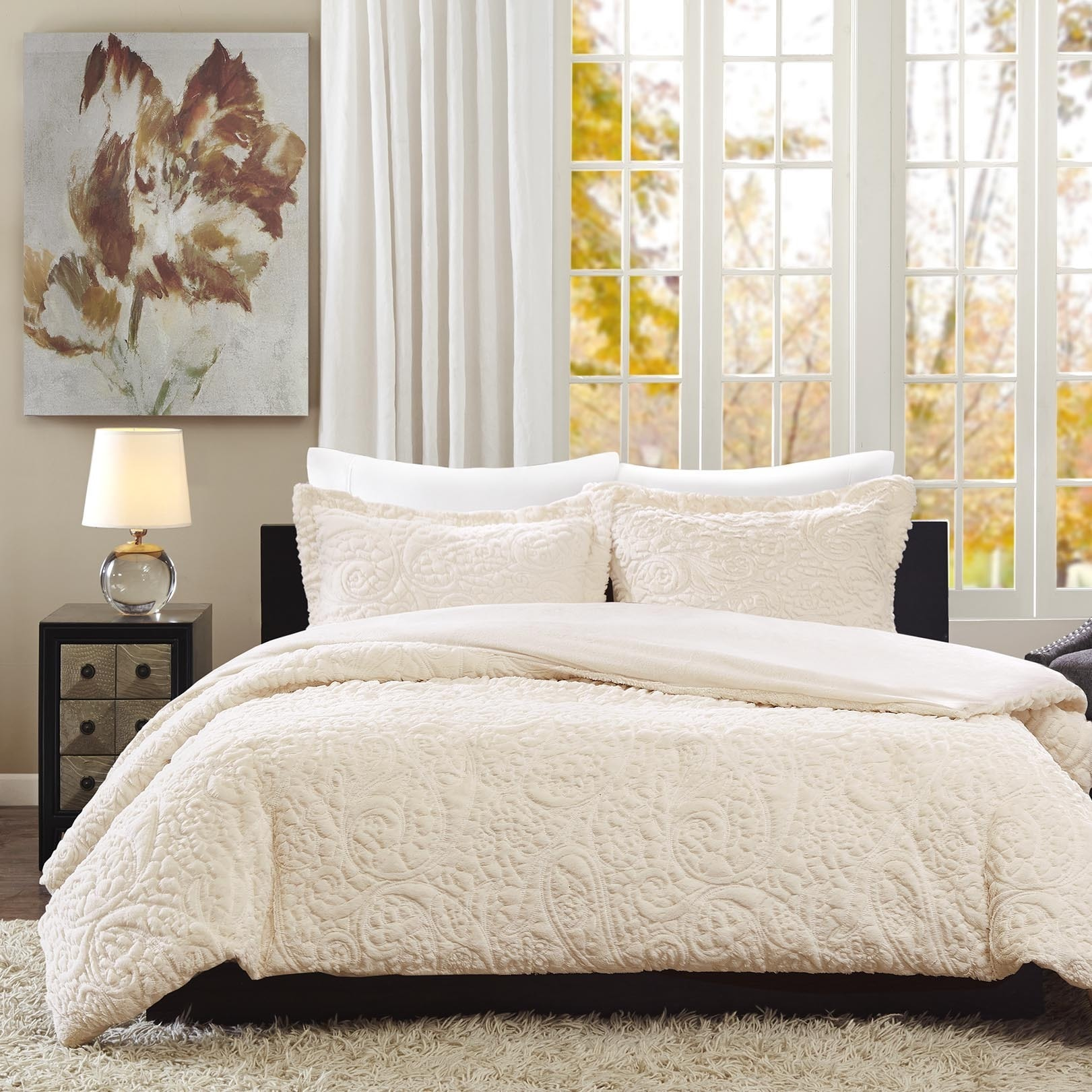 and in color set a less bag bed brown linens ivory comforter products sage green block modern luxury