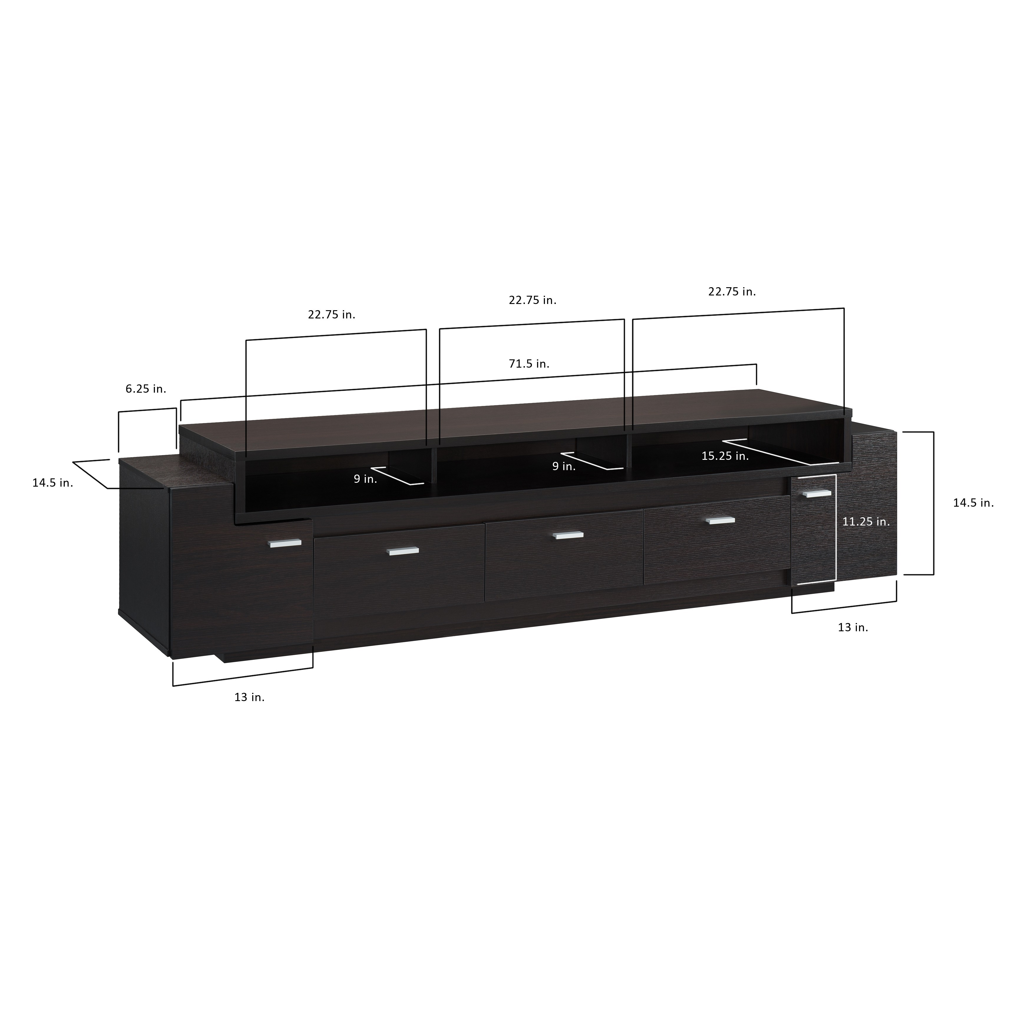 Shop Oliver & James Luc 84 inch Tiered TV Stand Sale Free