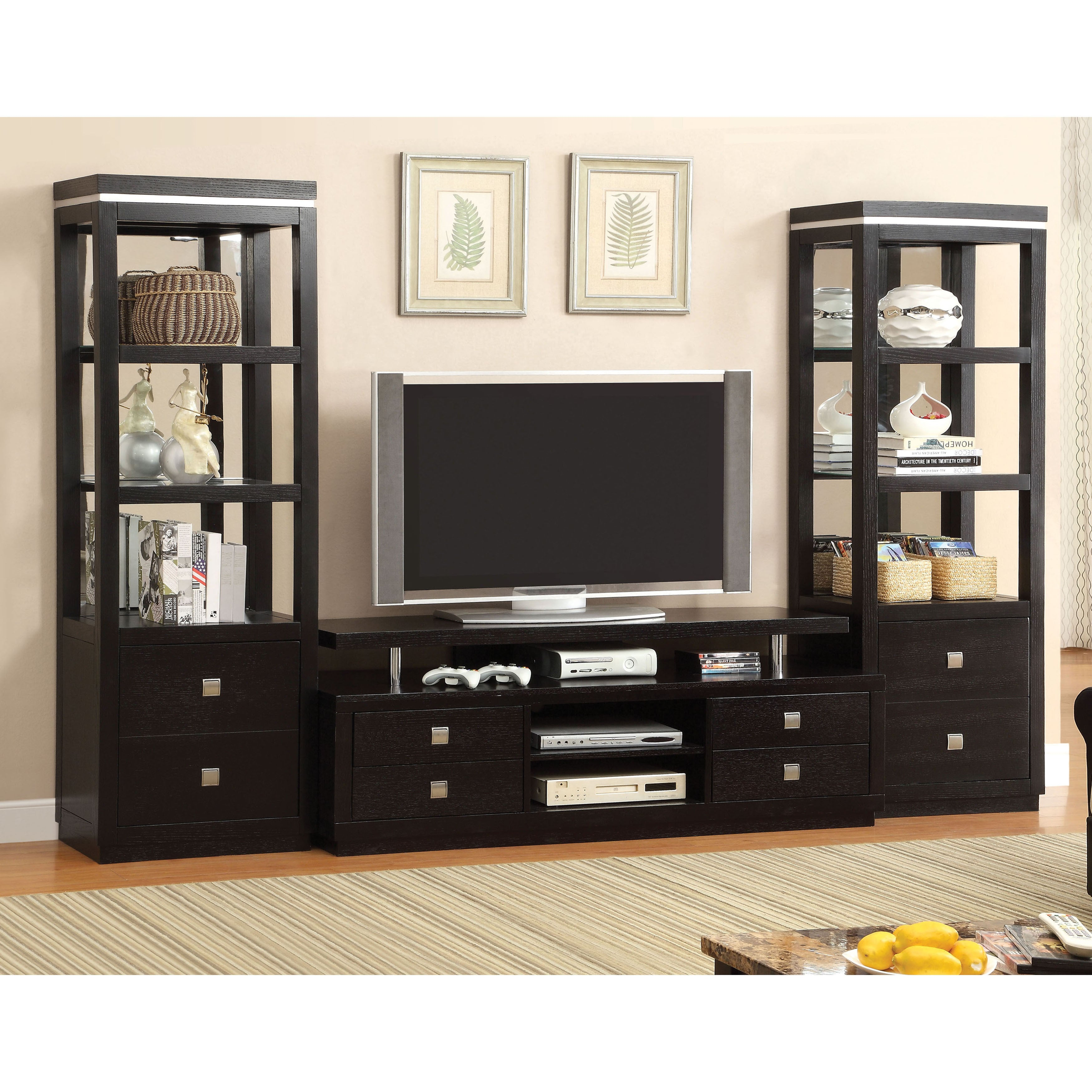 Furniture Of America Bausley Modern Black 3 Piece Entertainment Unit Set On Free Shipping Today 10839998