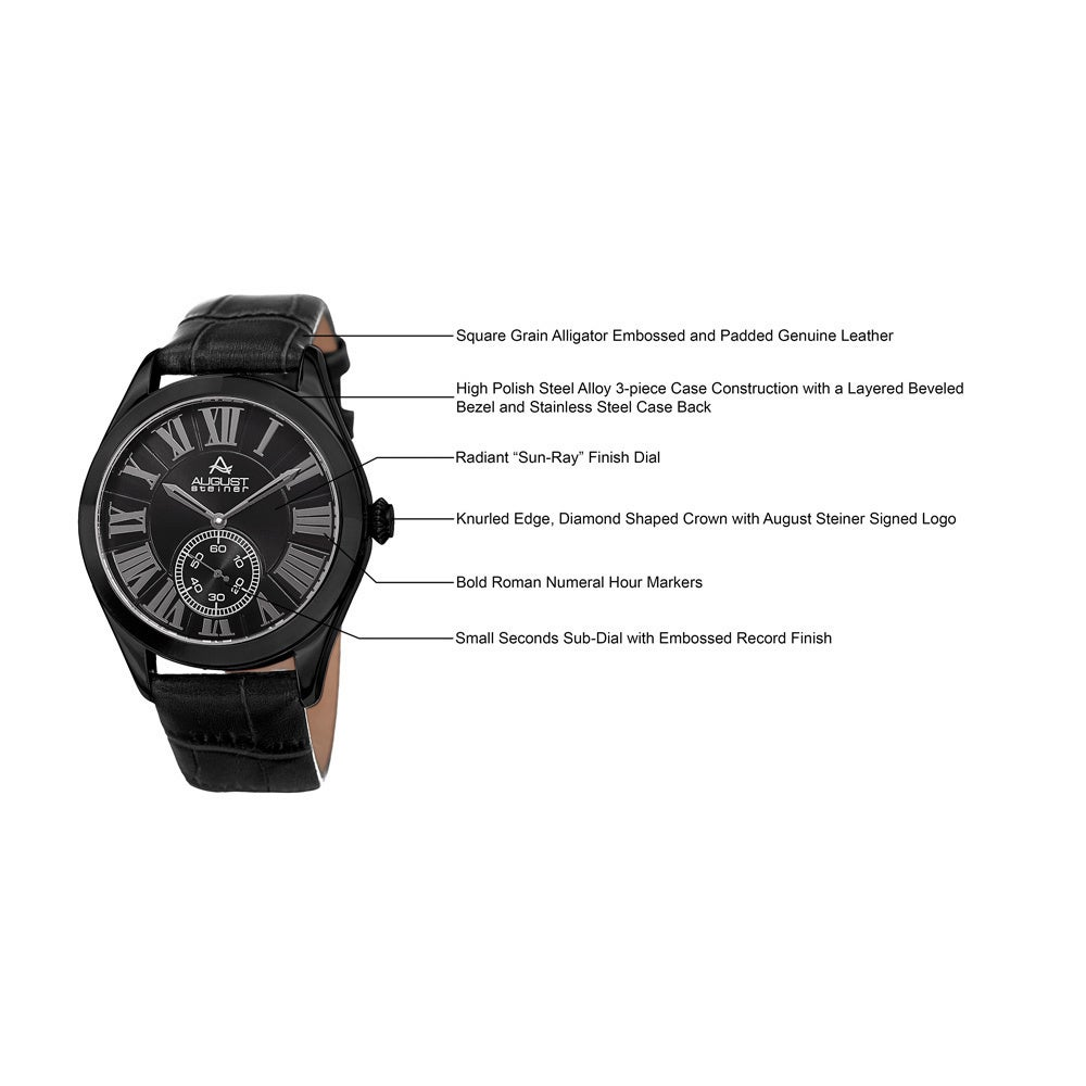 Shop August Steiner Mens Quartz Alligator Embossed Leather Black Radiant Backpack Strap Watch On Sale Free Shipping Today 10840399