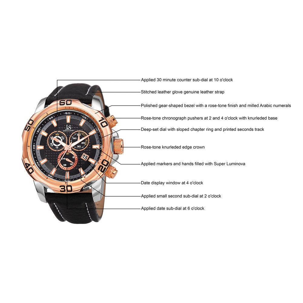 0c518537167 Shop Joshua   Sons Men s Swiss Quartz Chronograph Multifunction Leather Rose-Tone  Strap Watch - Gold - Free Shipping Today - Overstock - 10840403