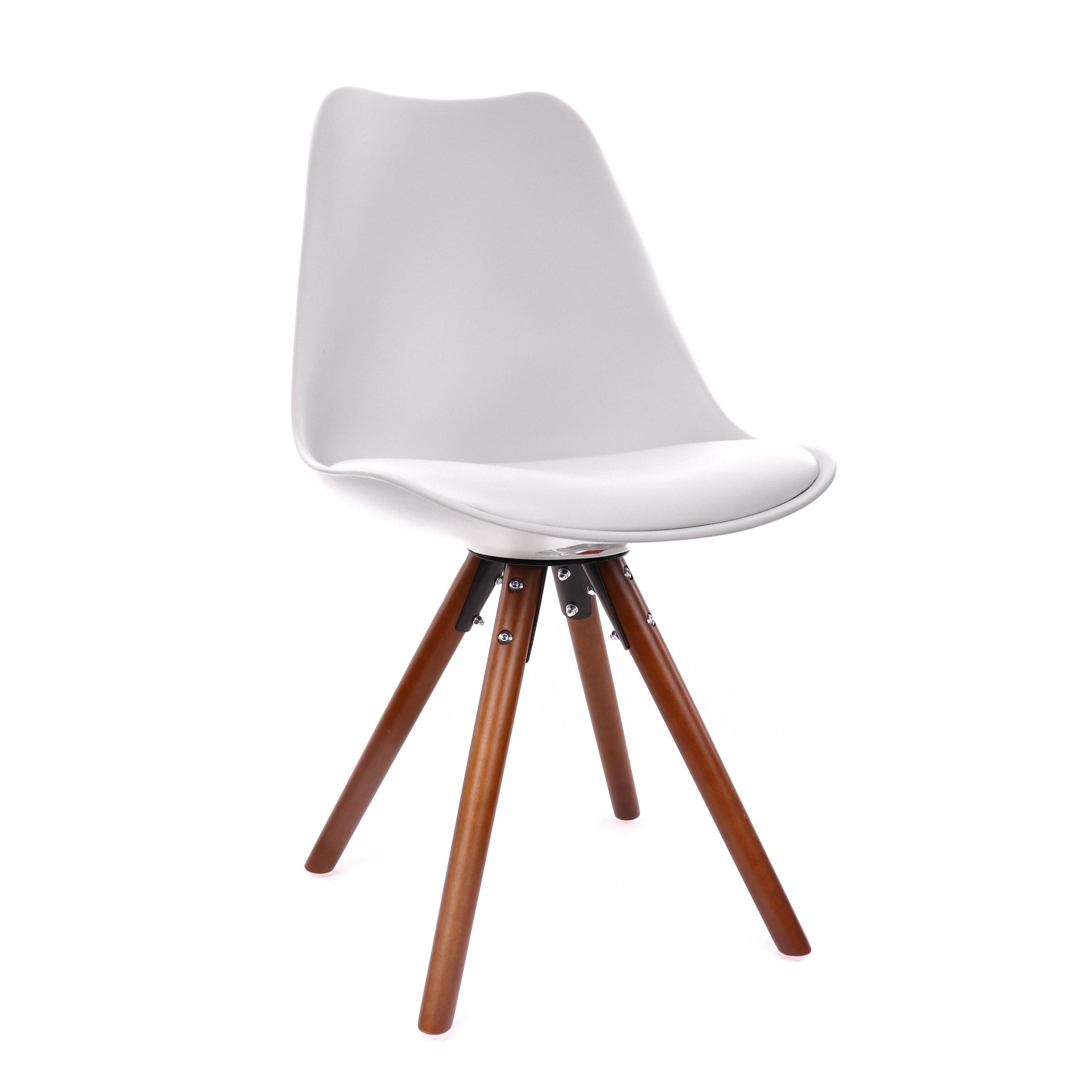 Shop Viborg White Mid Century Side Chair Walnut Base Set Of 2