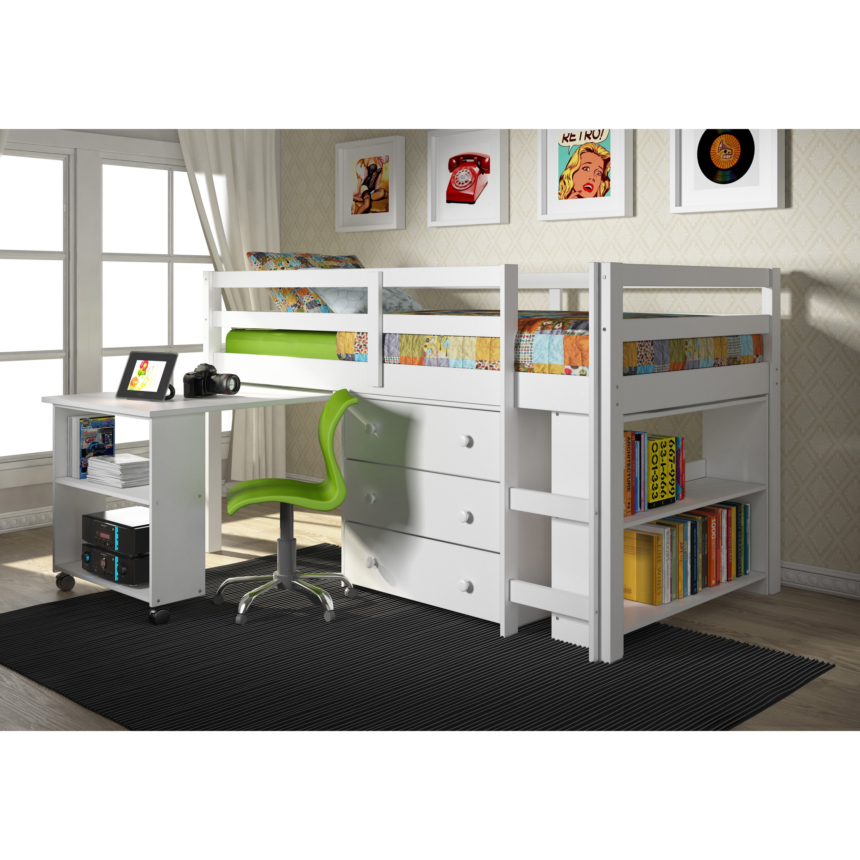 Donco Kids Low Study Loft Desk Twin Bed with Chest and Bookcase - Free  Shipping Today - Overstock.com - 17882046