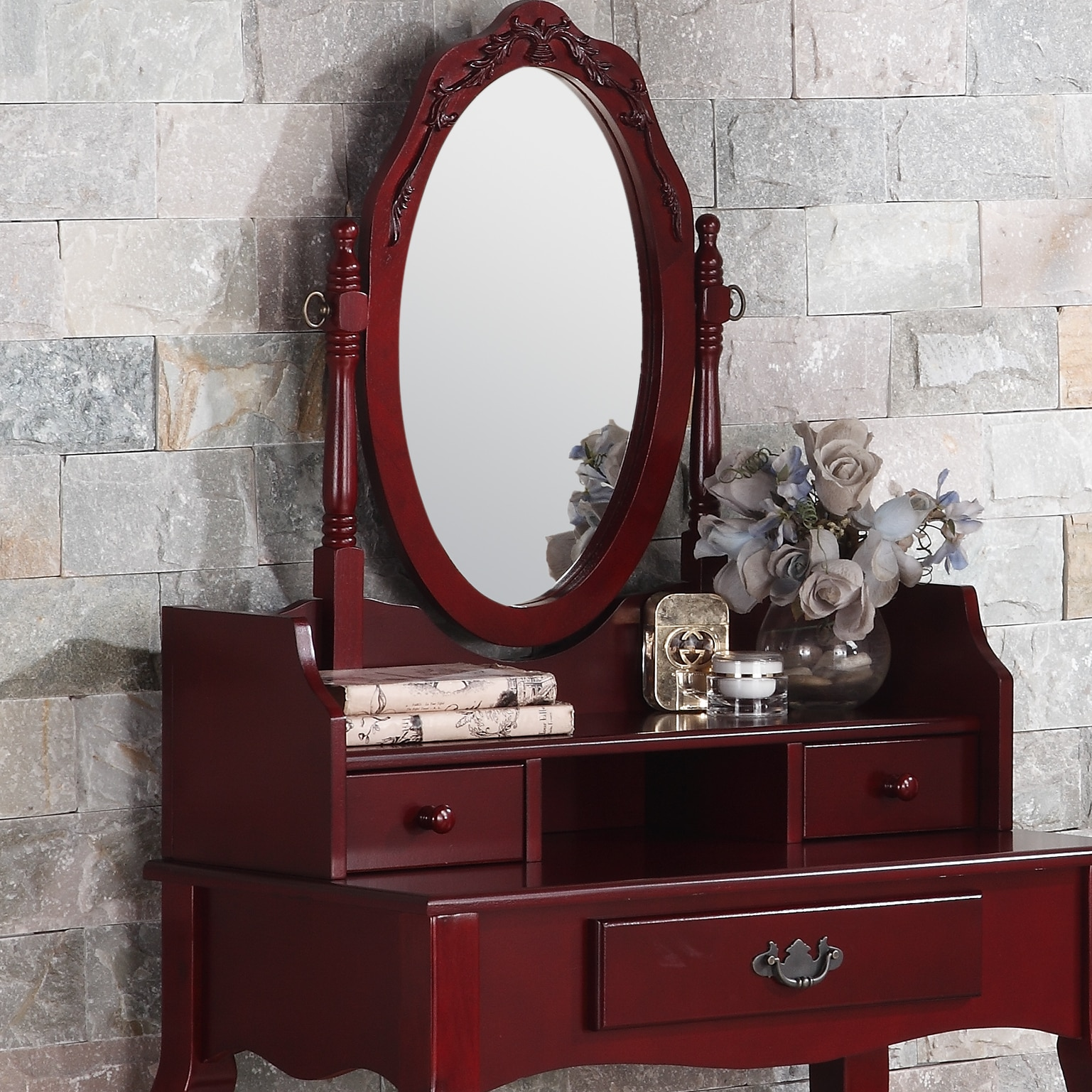 Shop Ribbon Wood Cherry Makeup Vanity Table And Stool Set On Sale