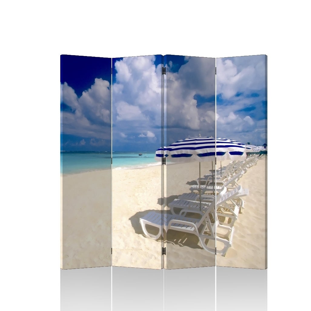 Caribbean Beach 4 Panel Double Sided Painted Canvas Room Divider Free Shipping Today 10840818